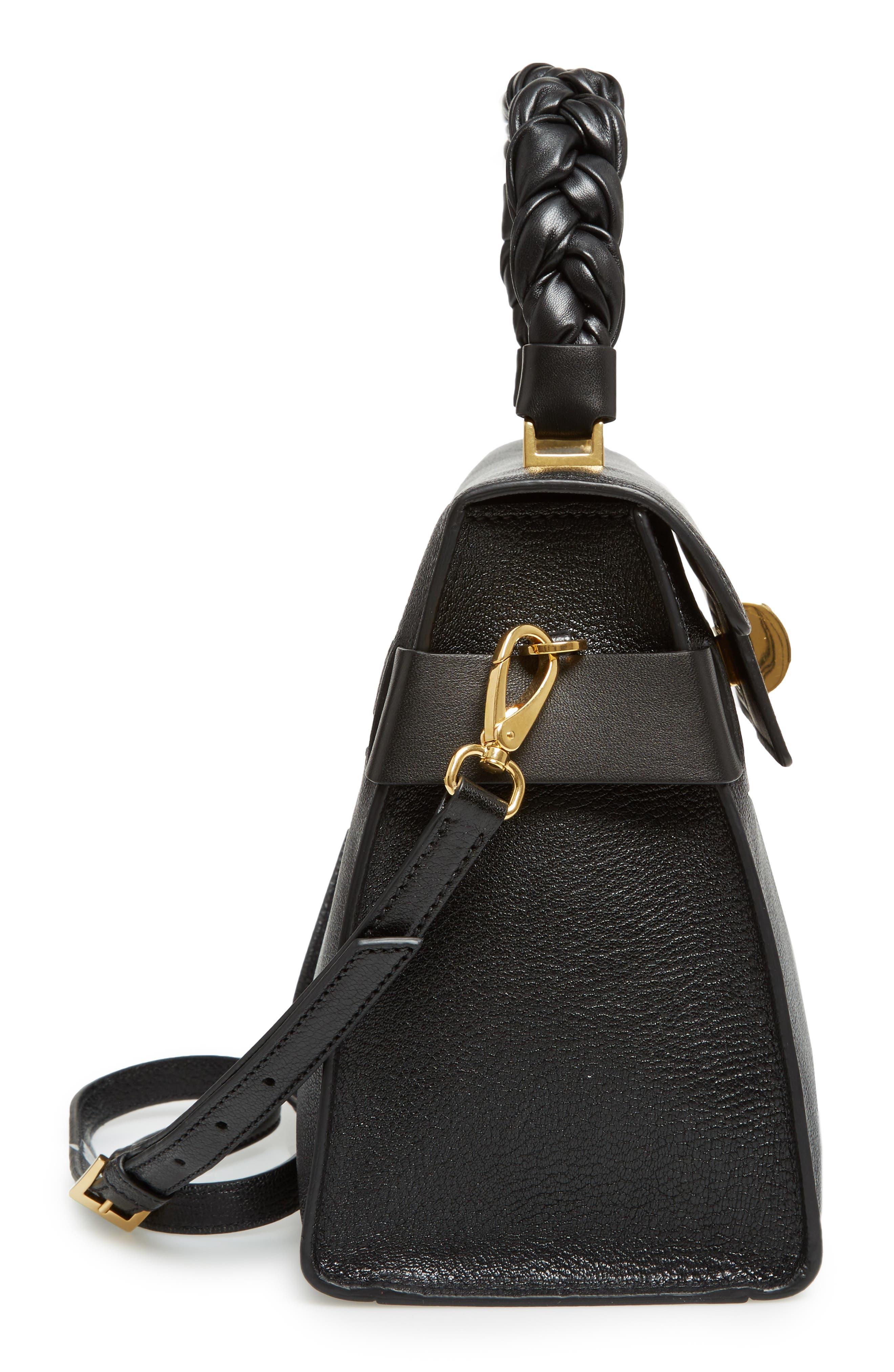Madras Click Goatskin Leather Satchel,                             Alternate thumbnail 5, color,                             Black