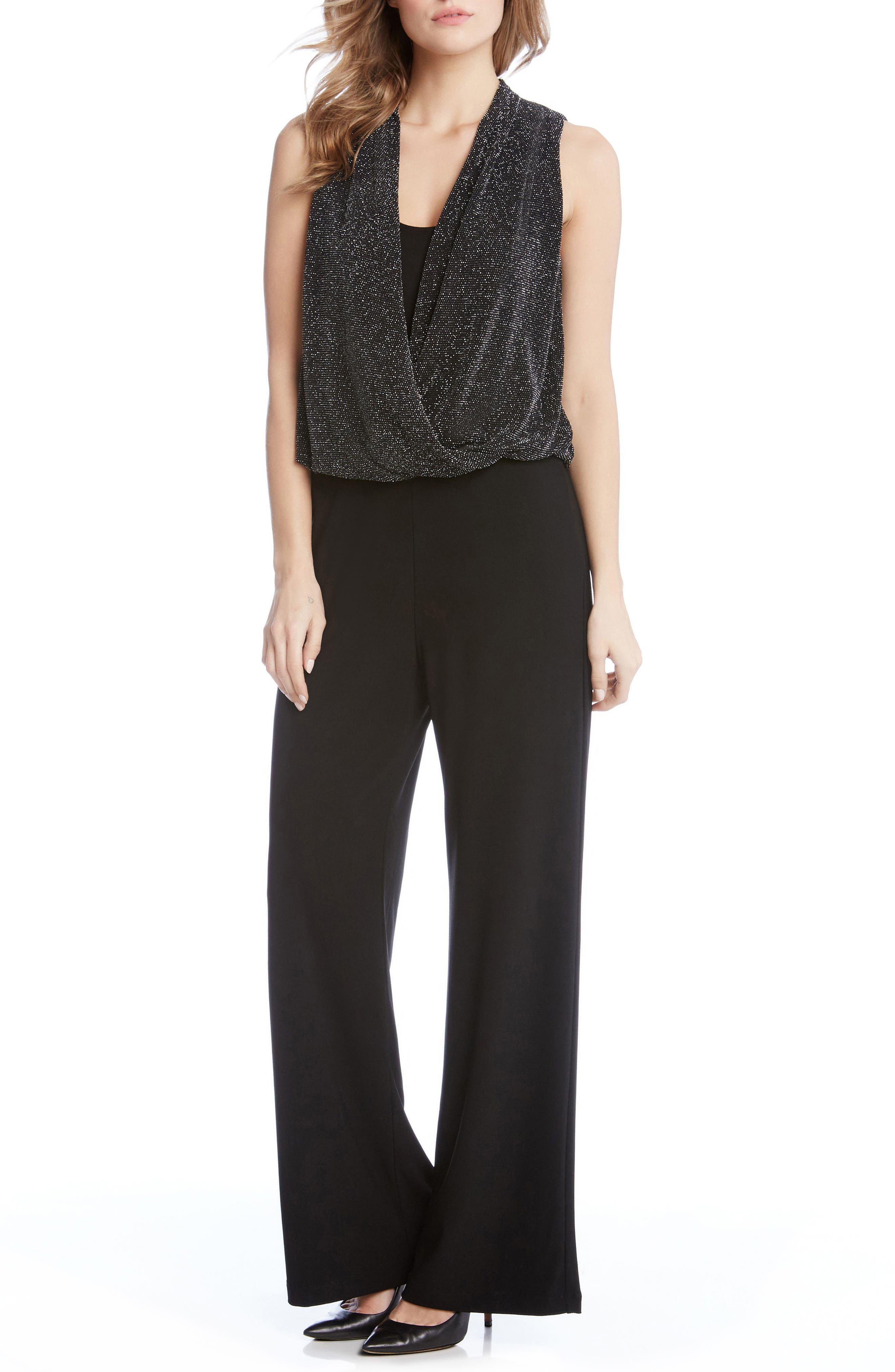 Alternate Image 1 Selected - Karen Kane Sparkle Knit Palazzo Jamupsuit