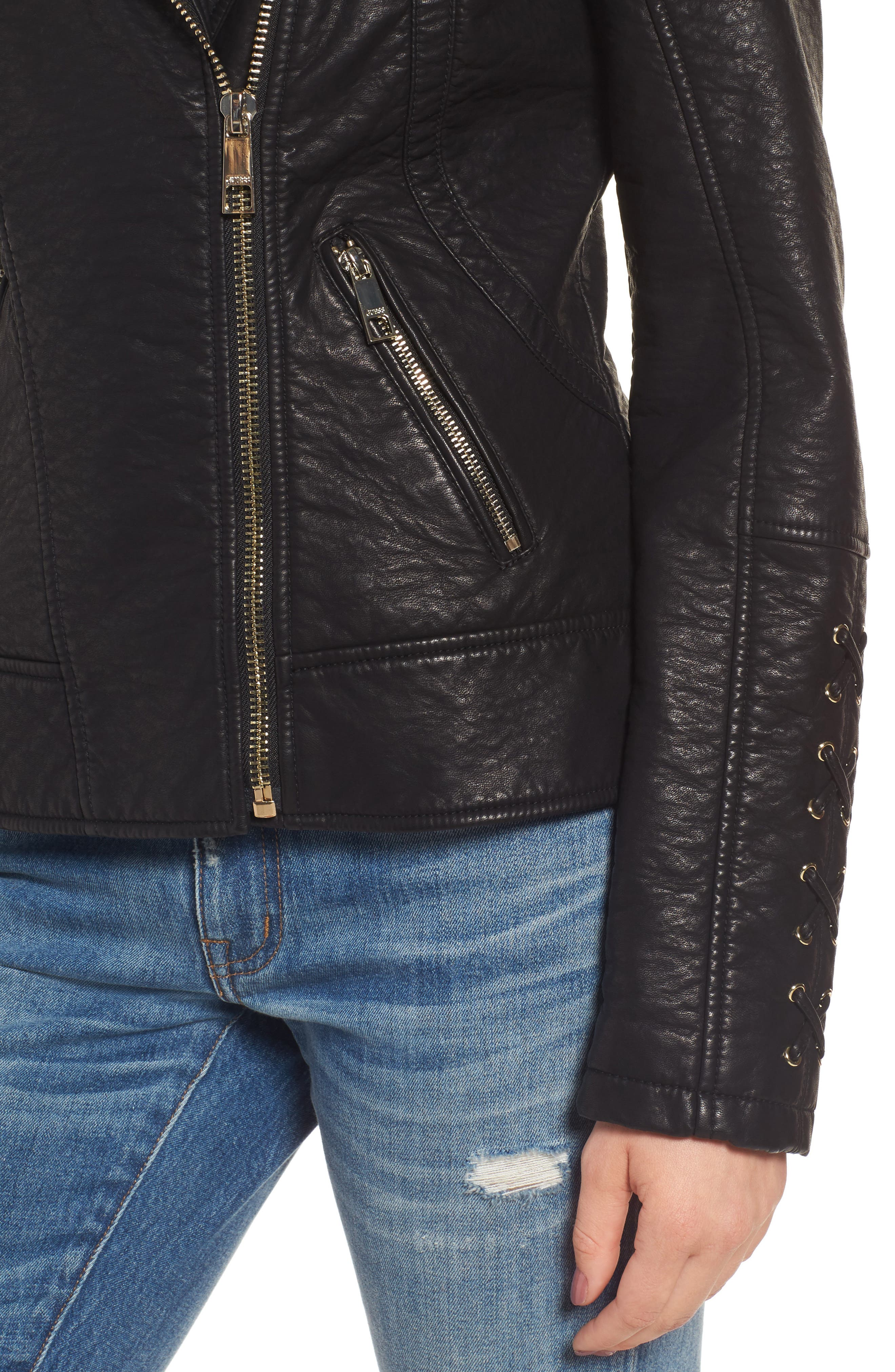 Alternate Image 4  - GUESS Faux Fur Collar Jacket