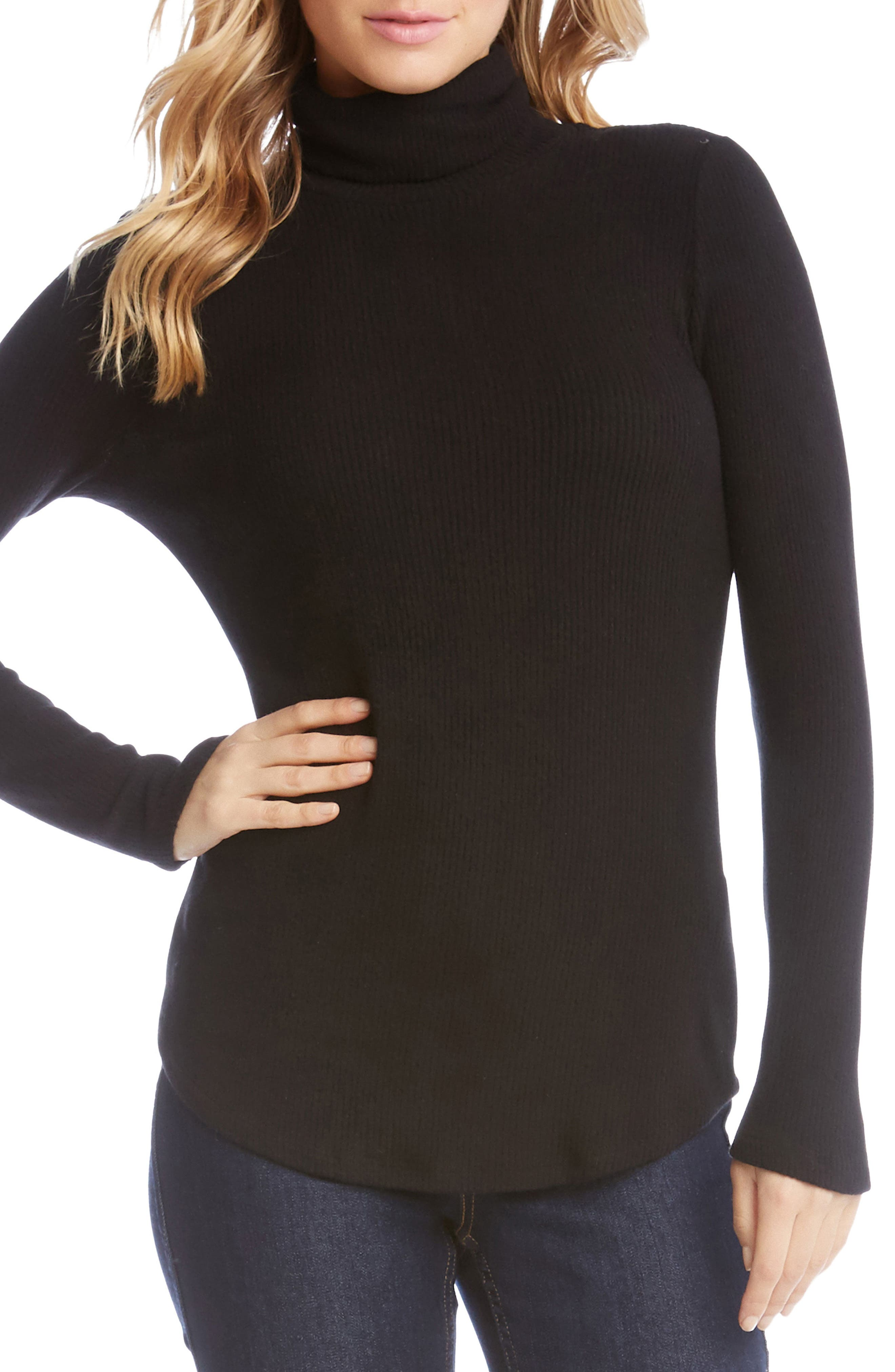 Main Image - Karen Kane Angled Sleeve Turtleneck