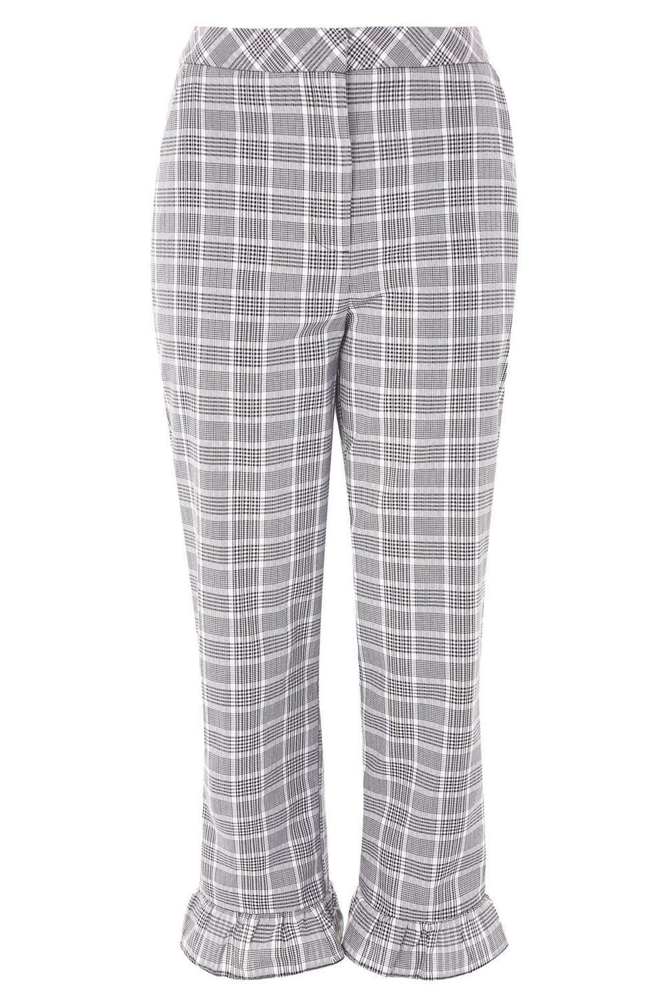 Alternate Image 3  - Topshop Slim Fit Check Ruffle Capri Pants
