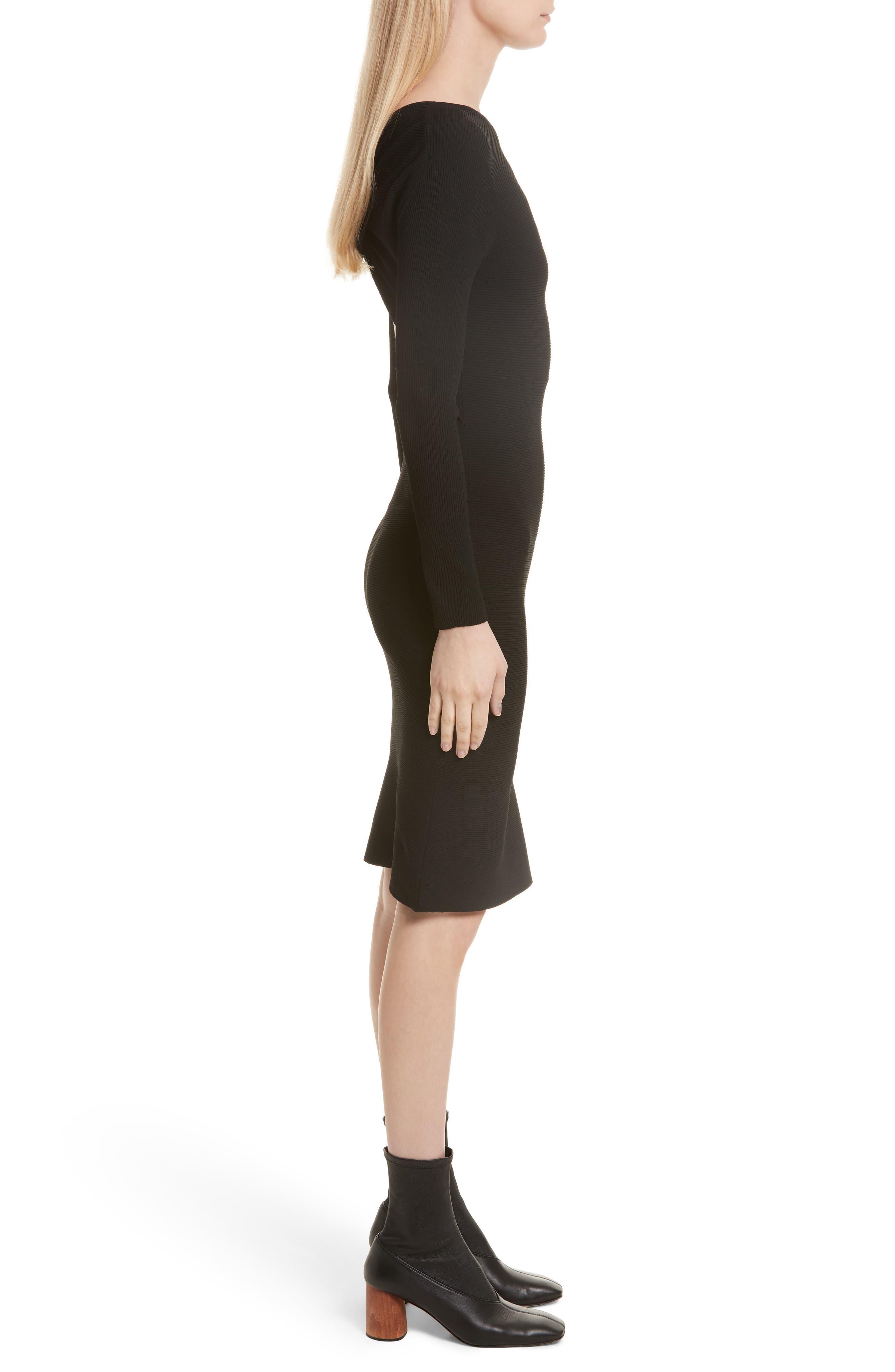 Technical Rib Open Back Dress,                             Alternate thumbnail 3, color,                             Black