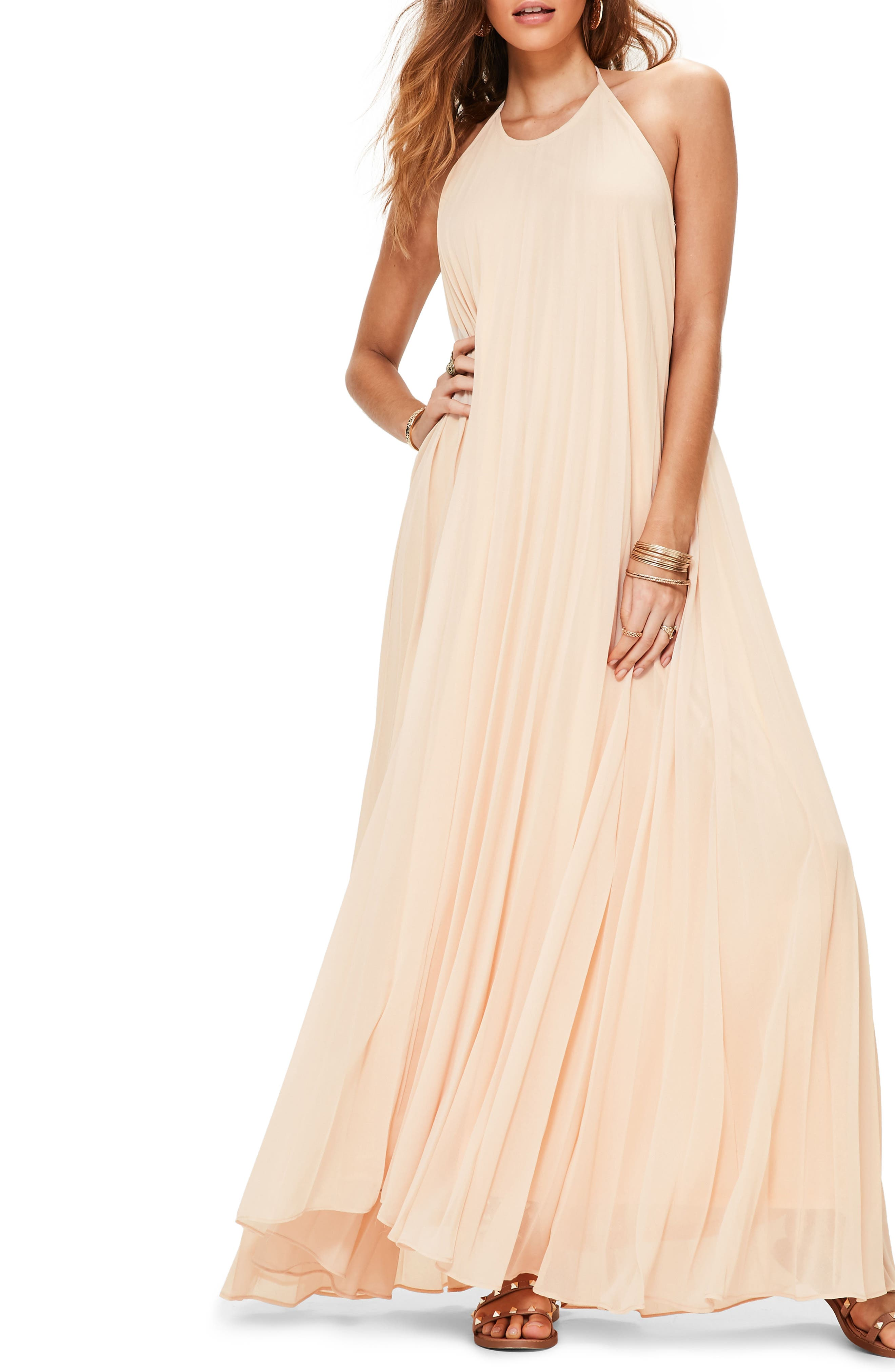 MISSGUIDED Pleated Maxi Dress