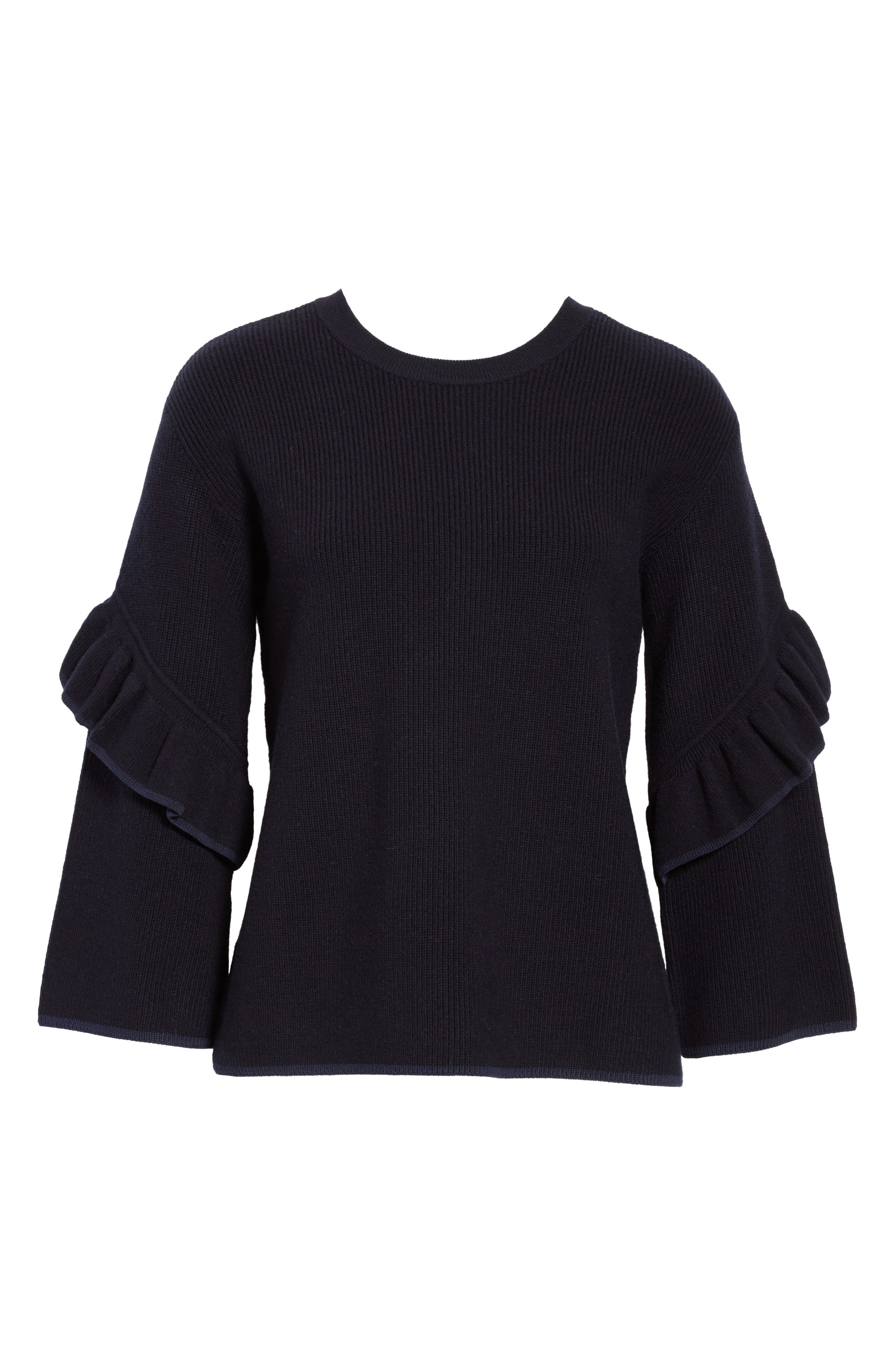 Ashley Ruffle Bell Sleeve Sweater,                             Alternate thumbnail 6, color,                             Tory Navy