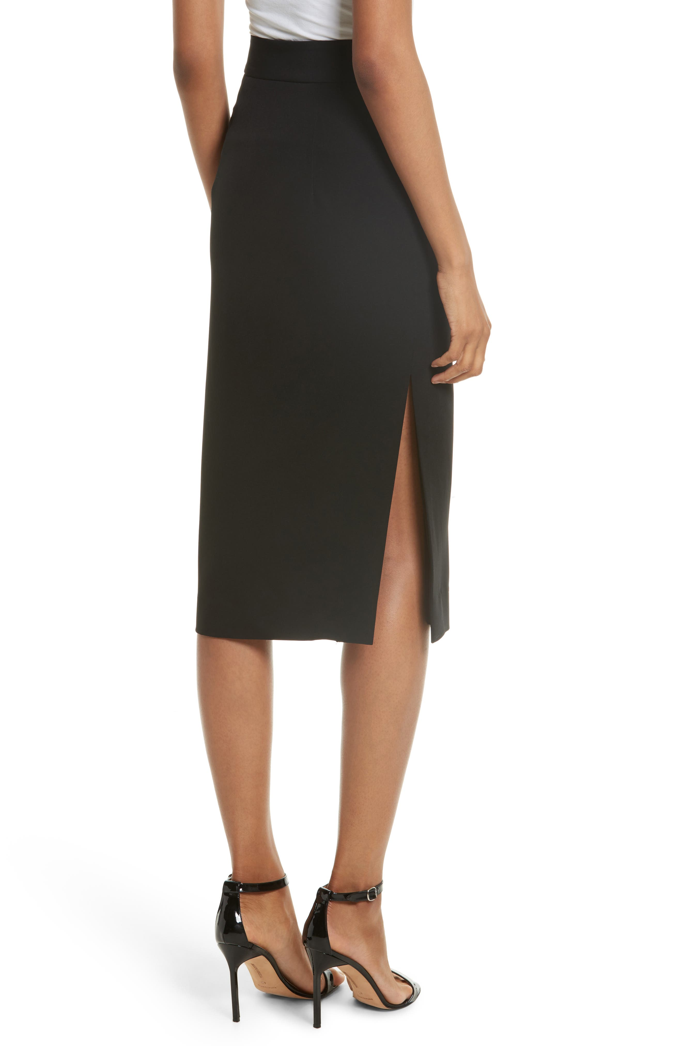 Italian Cady Side Slit Skirt,                             Alternate thumbnail 2, color,                             Black