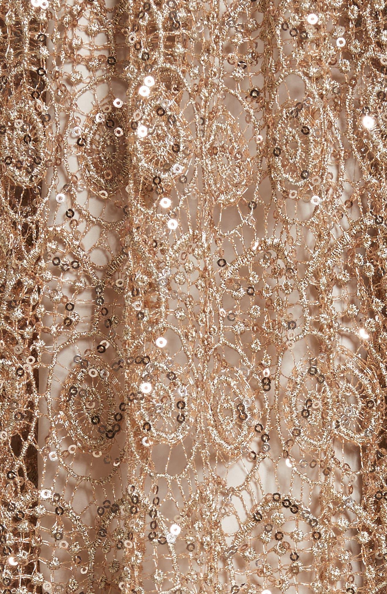Metallic Lace Skirt,                             Alternate thumbnail 7, color,                             Gold
