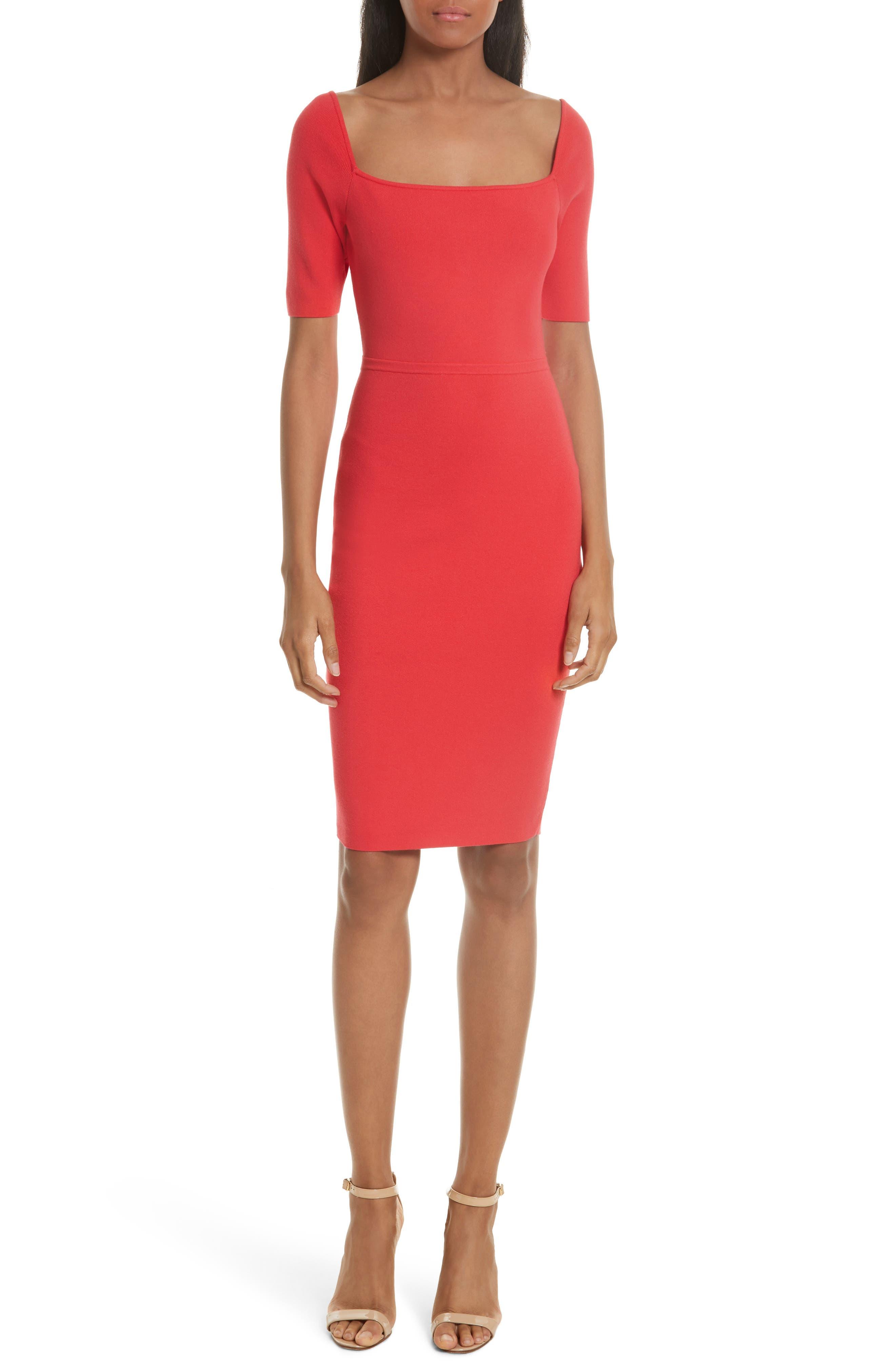 Square Neck Sheath Dress,                         Main,                         color, Cherry