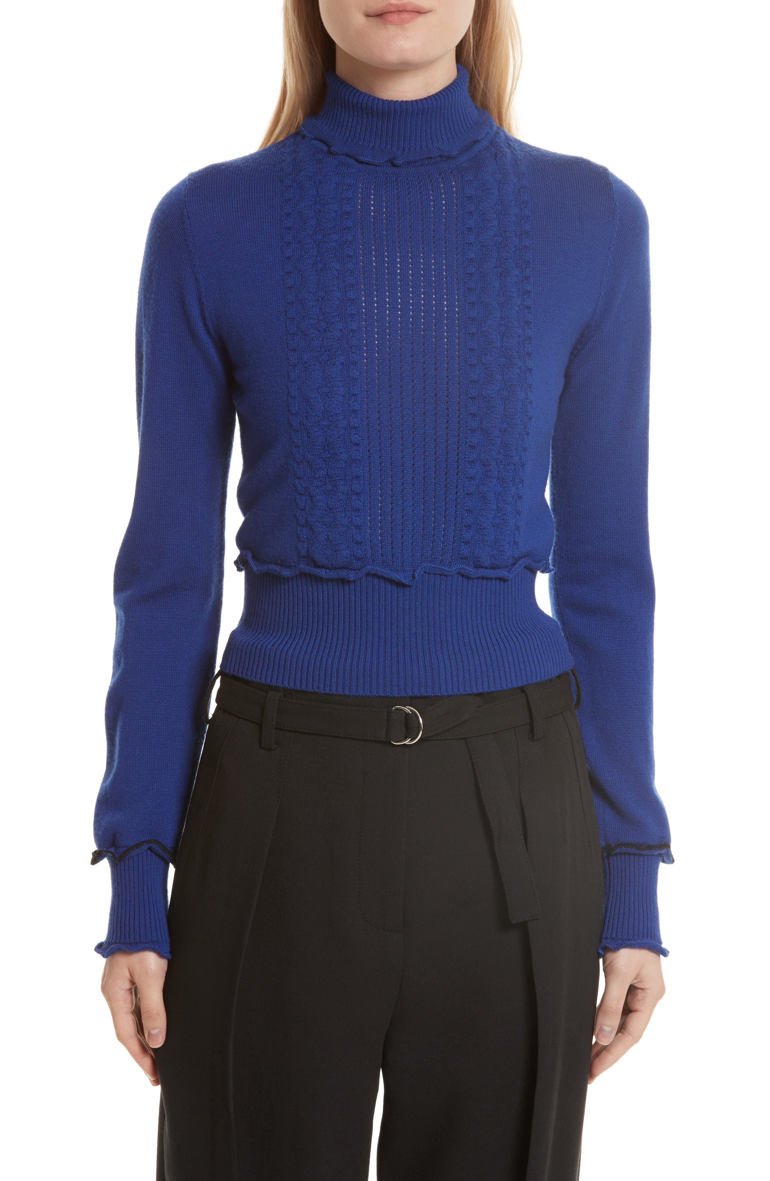 Puffy Cable Turtleneck Sweater,                         Main,                         color, Electric Blue