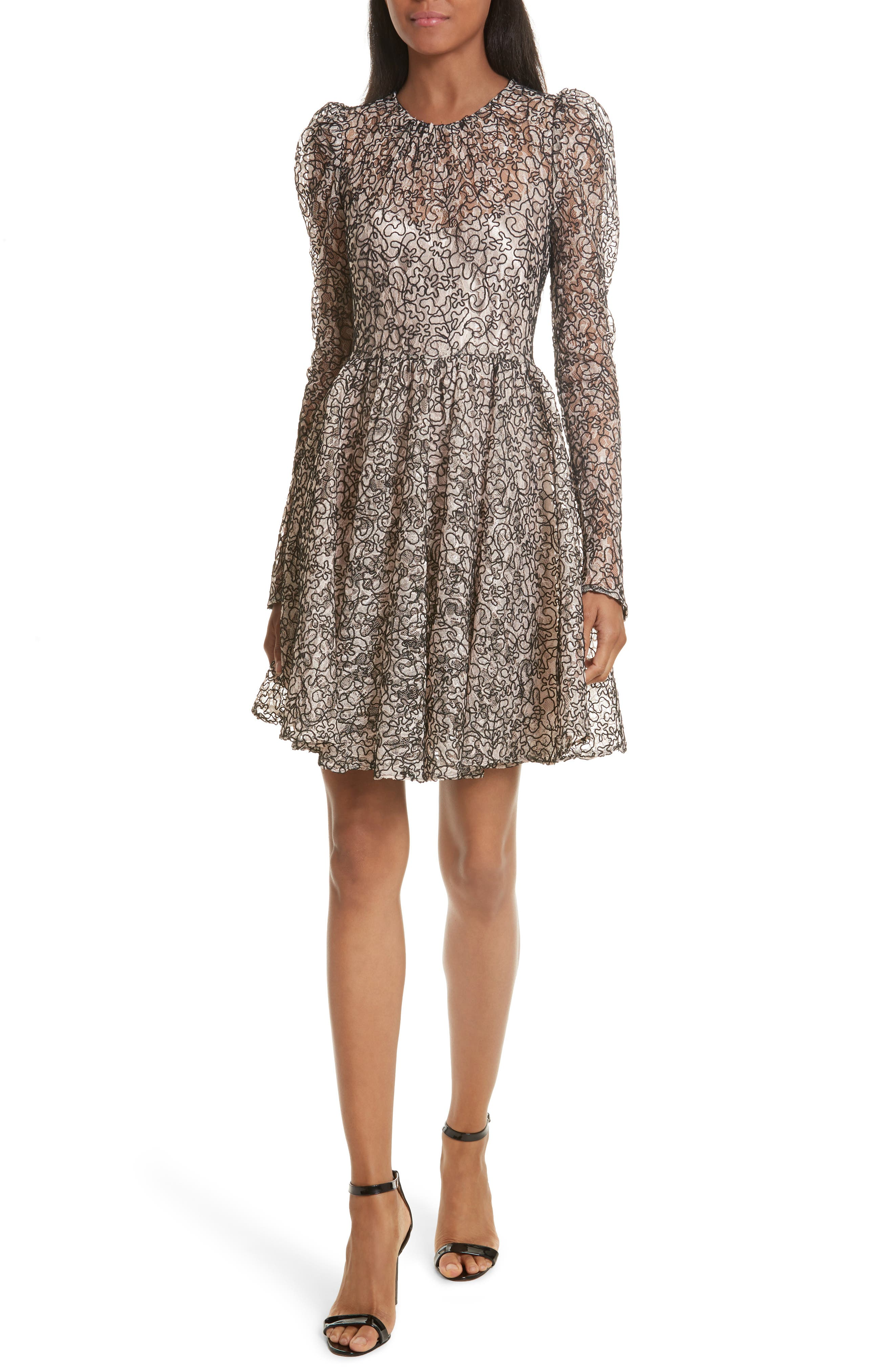 Milly Aria Lace Fit & Flare Dress