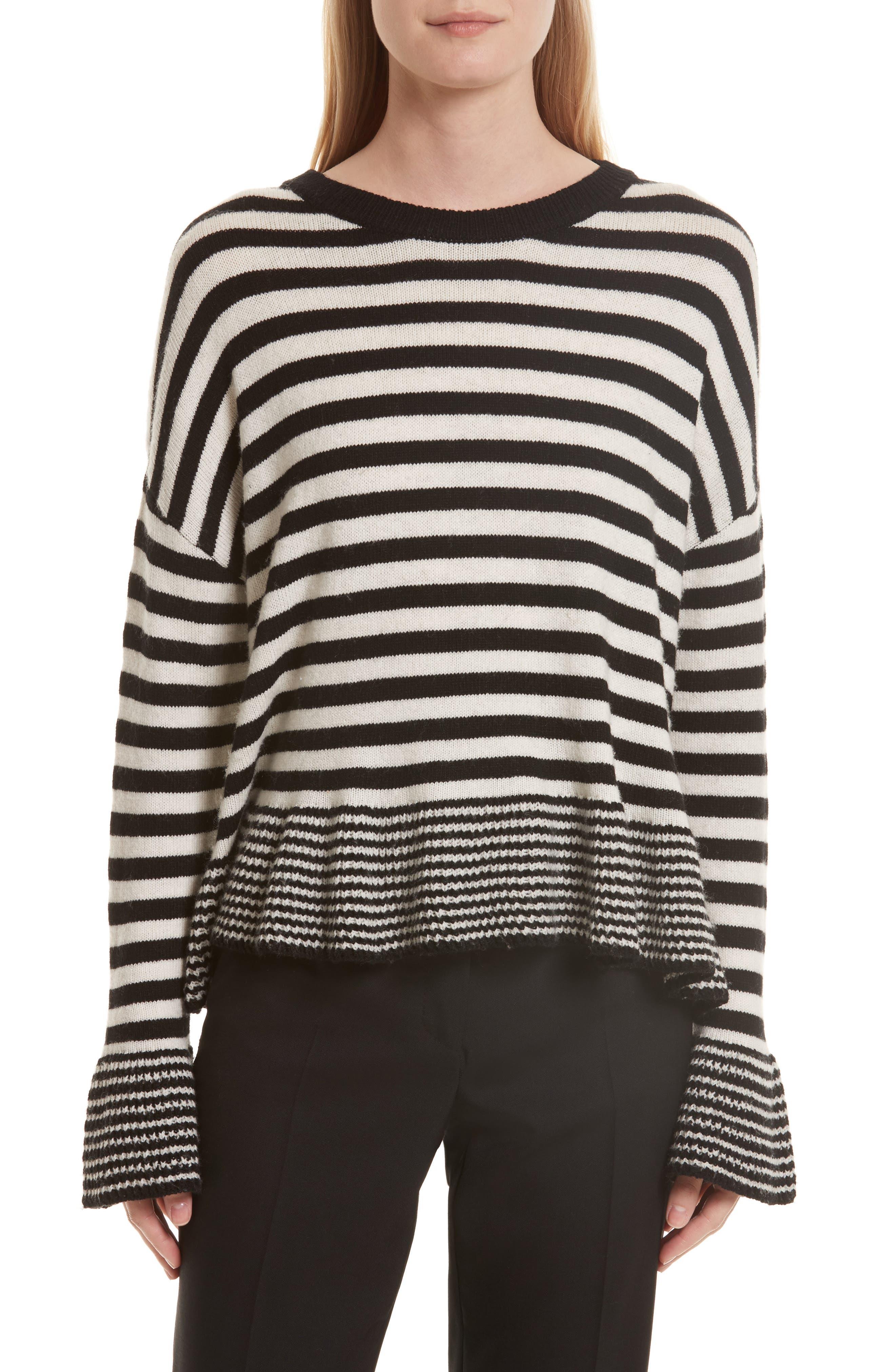 Seren Stripe Pullover,                         Main,                         color, Black/ Ivory