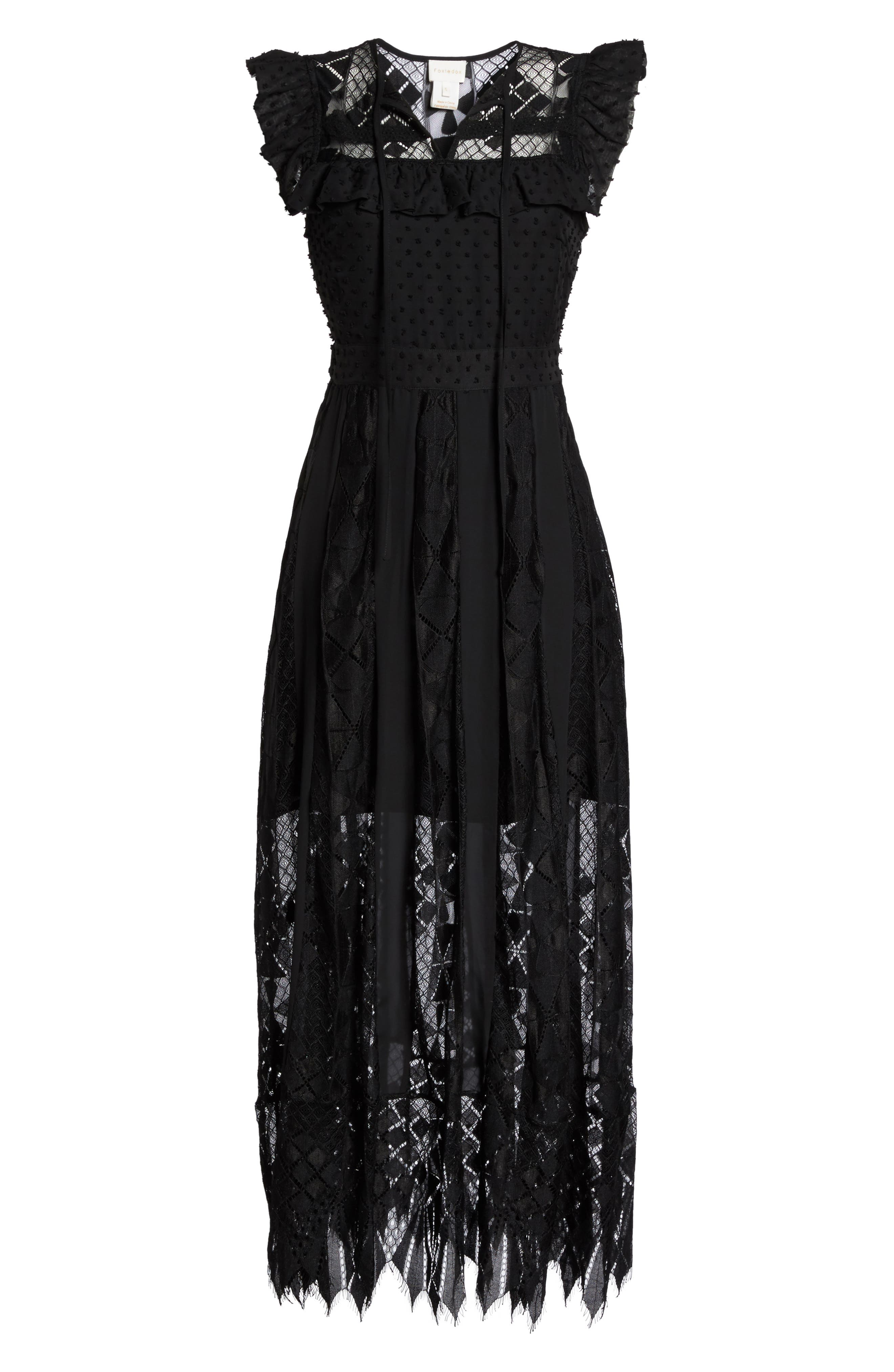 Forence Lace & Swiss Dot Dress,                             Alternate thumbnail 6, color,                             Black