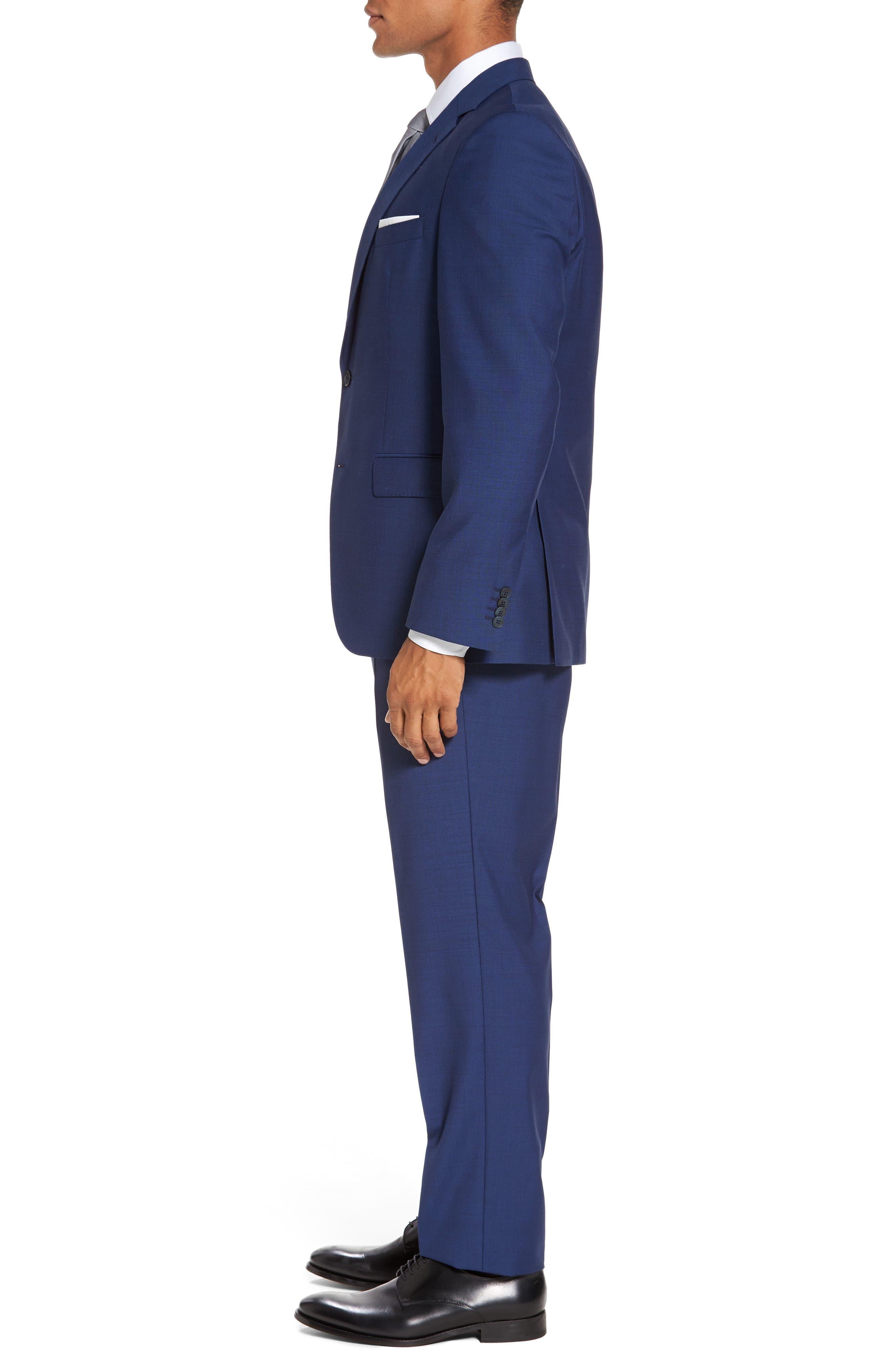 Trim Fit Solid Wool Suit,                             Alternate thumbnail 3, color,                             Bright Blue
