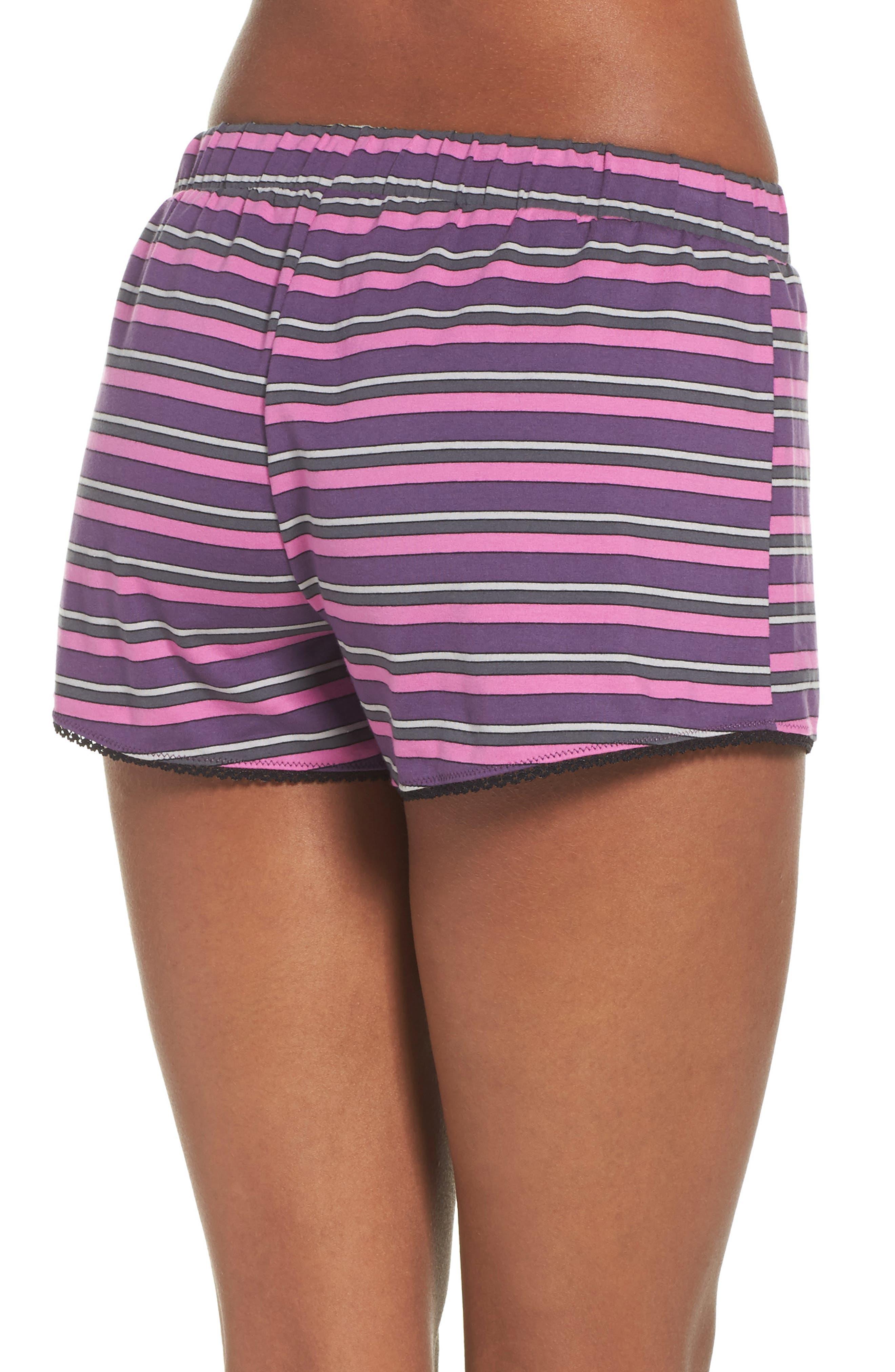 Pajama Shorts,                             Alternate thumbnail 2, color,                             Currant Stripe