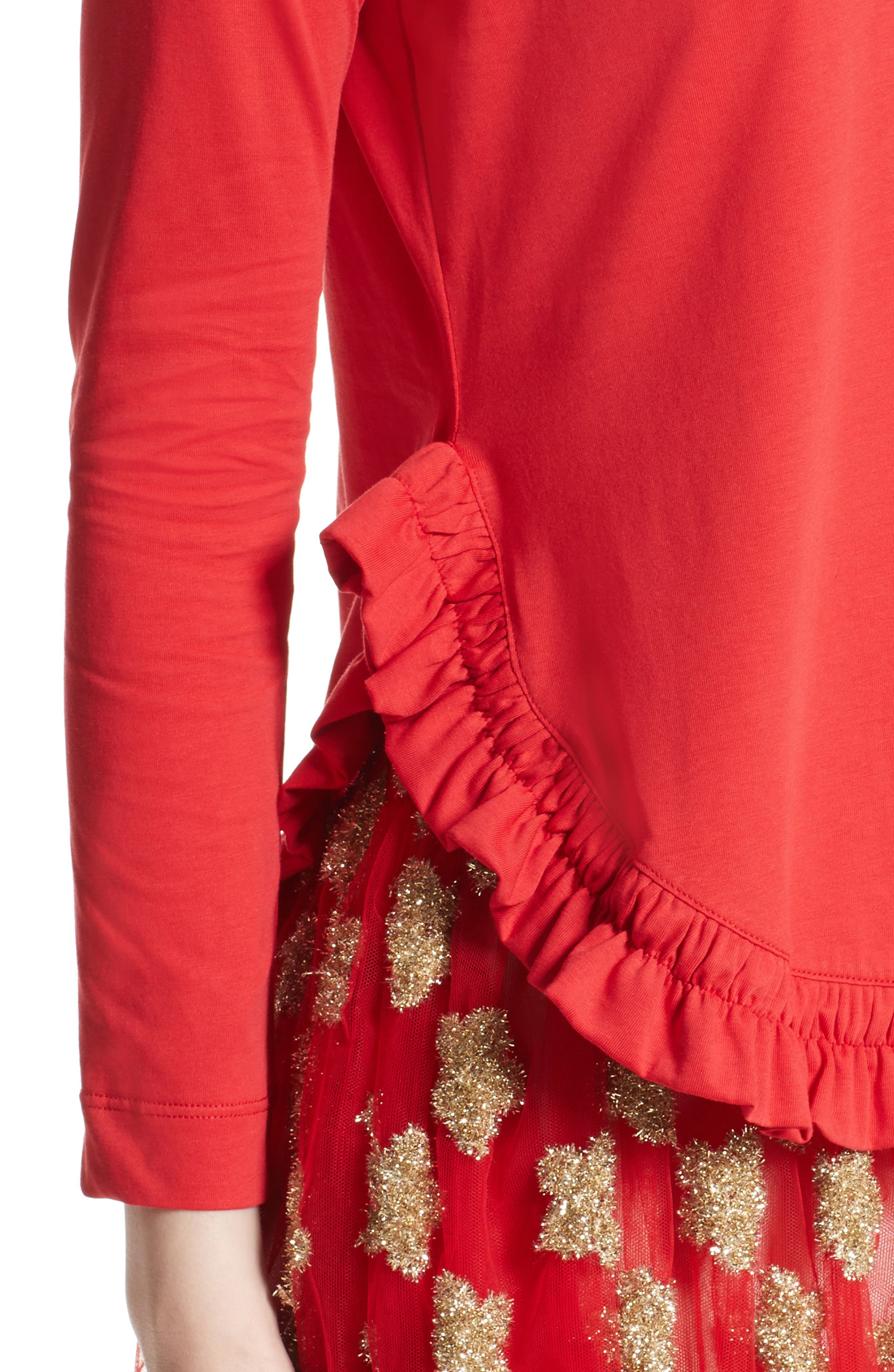 Frill Tee,                             Alternate thumbnail 6, color,                             Red