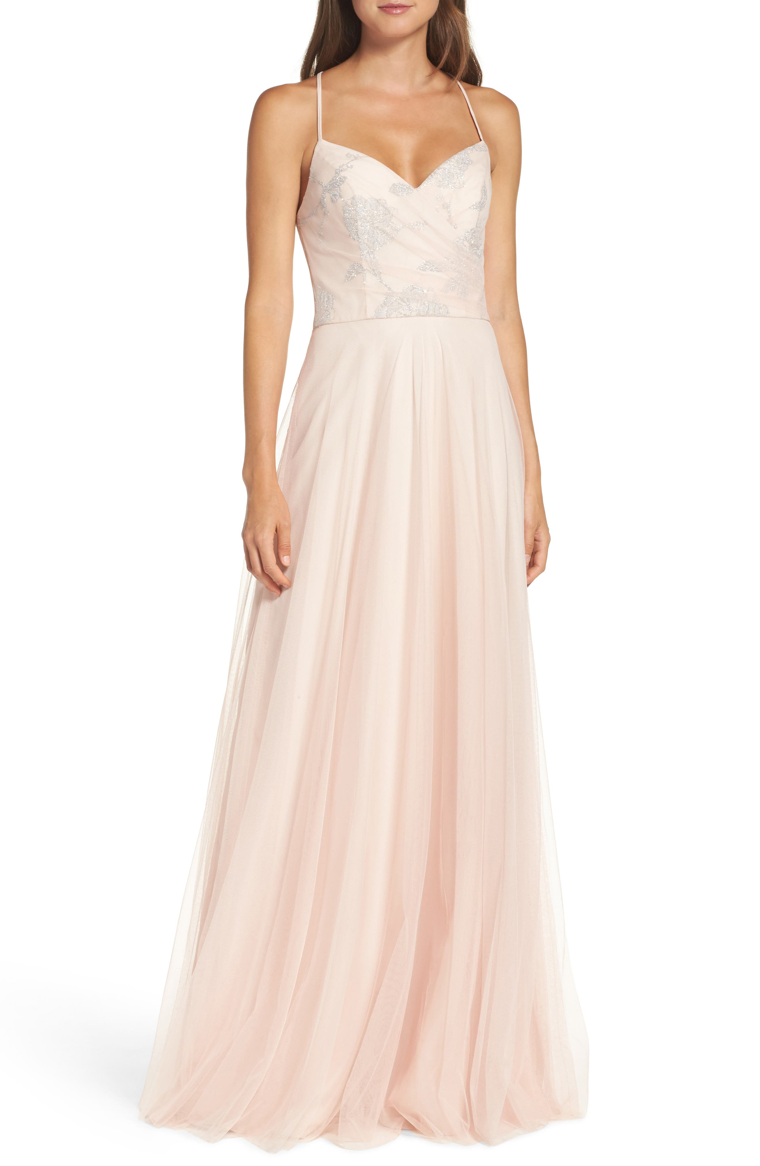 Alternate Image 1 Selected - Hayley Paige Occasions Embellished Bodice Net Halter Gown