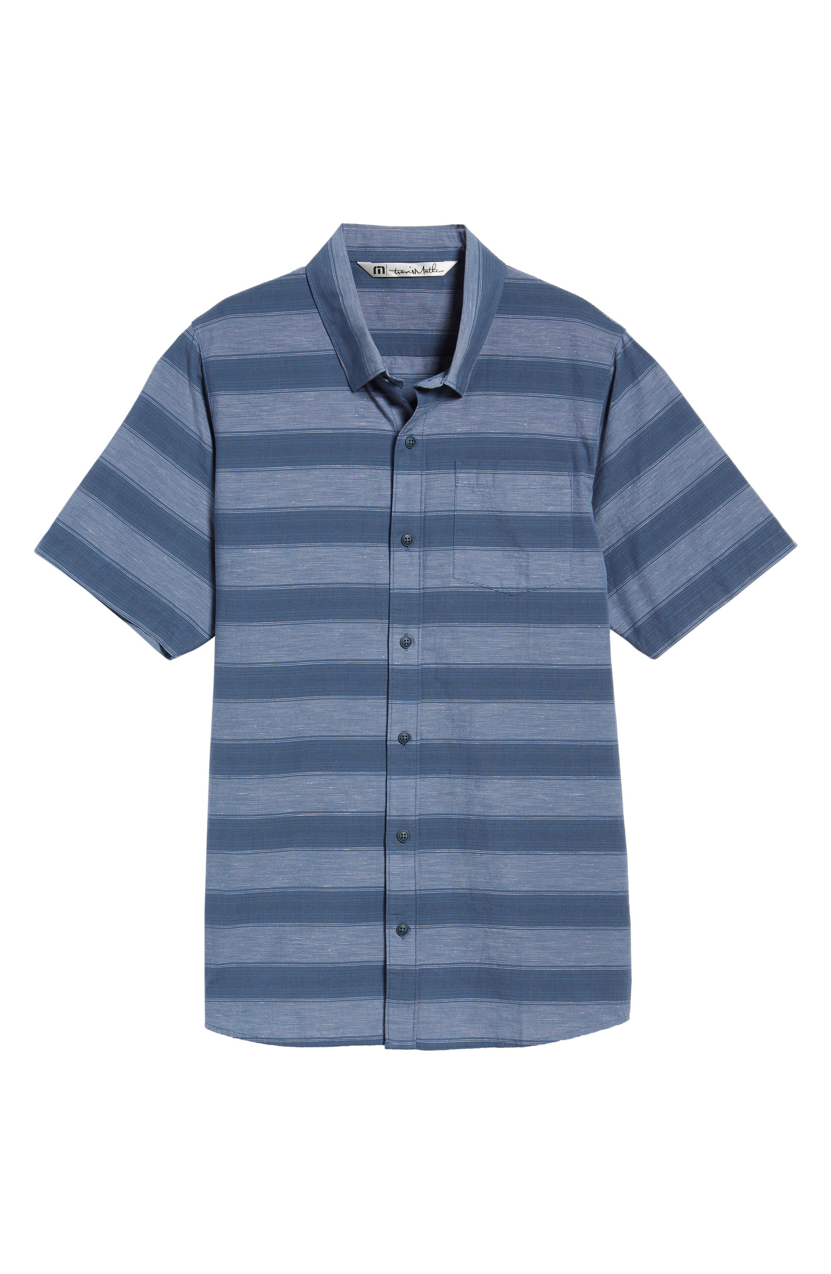 Kenneth Stripe Sport Shirt,                             Alternate thumbnail 6, color,                             Vintage Indigo