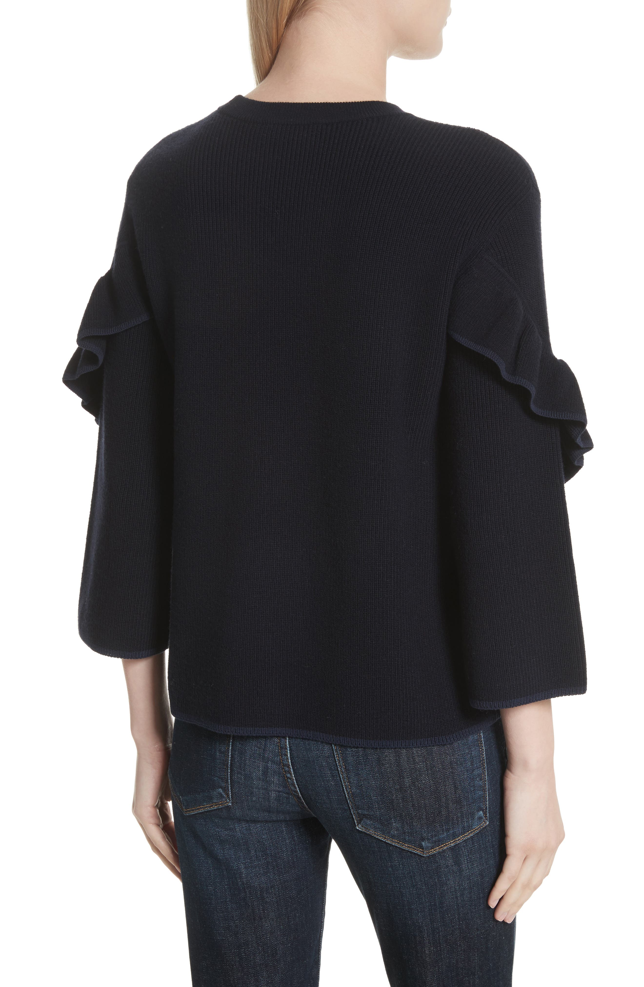 Ashley Ruffle Bell Sleeve Sweater,                             Alternate thumbnail 2, color,                             Tory Navy