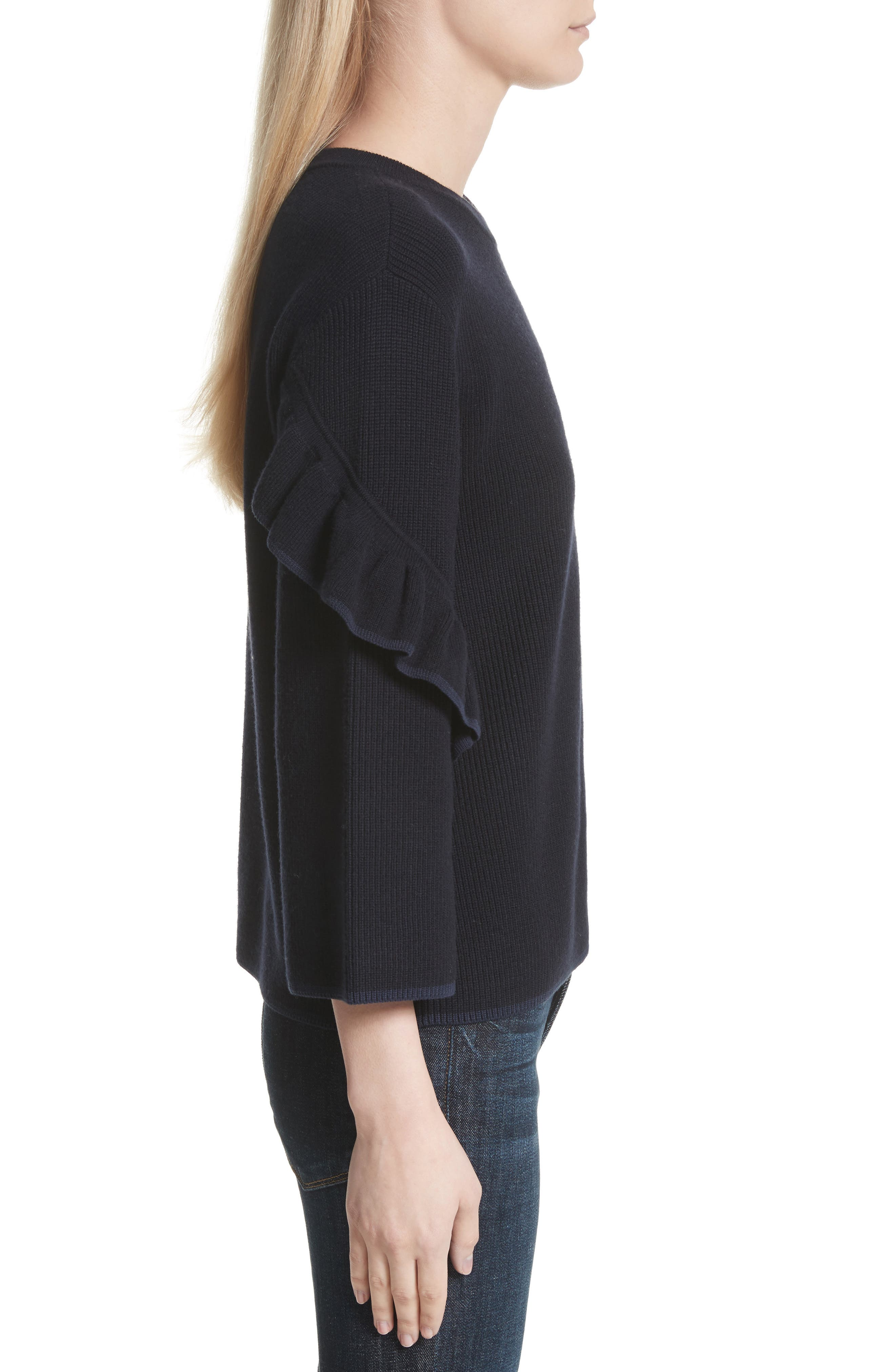 Ashley Ruffle Bell Sleeve Sweater,                             Alternate thumbnail 3, color,                             Tory Navy