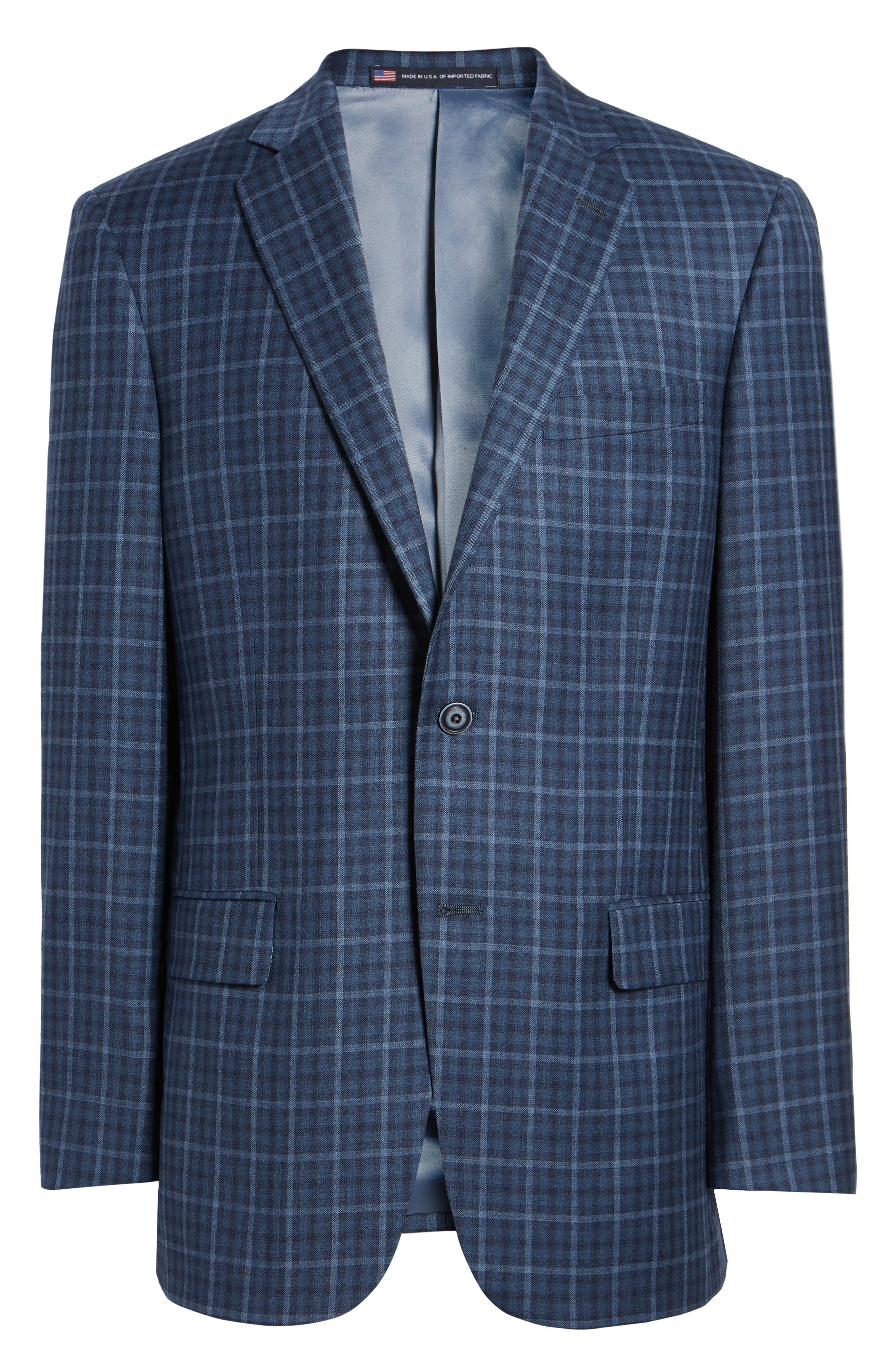 Classic Fit Check Wool Sport Coat,                             Alternate thumbnail 6, color,                             Medium Blue