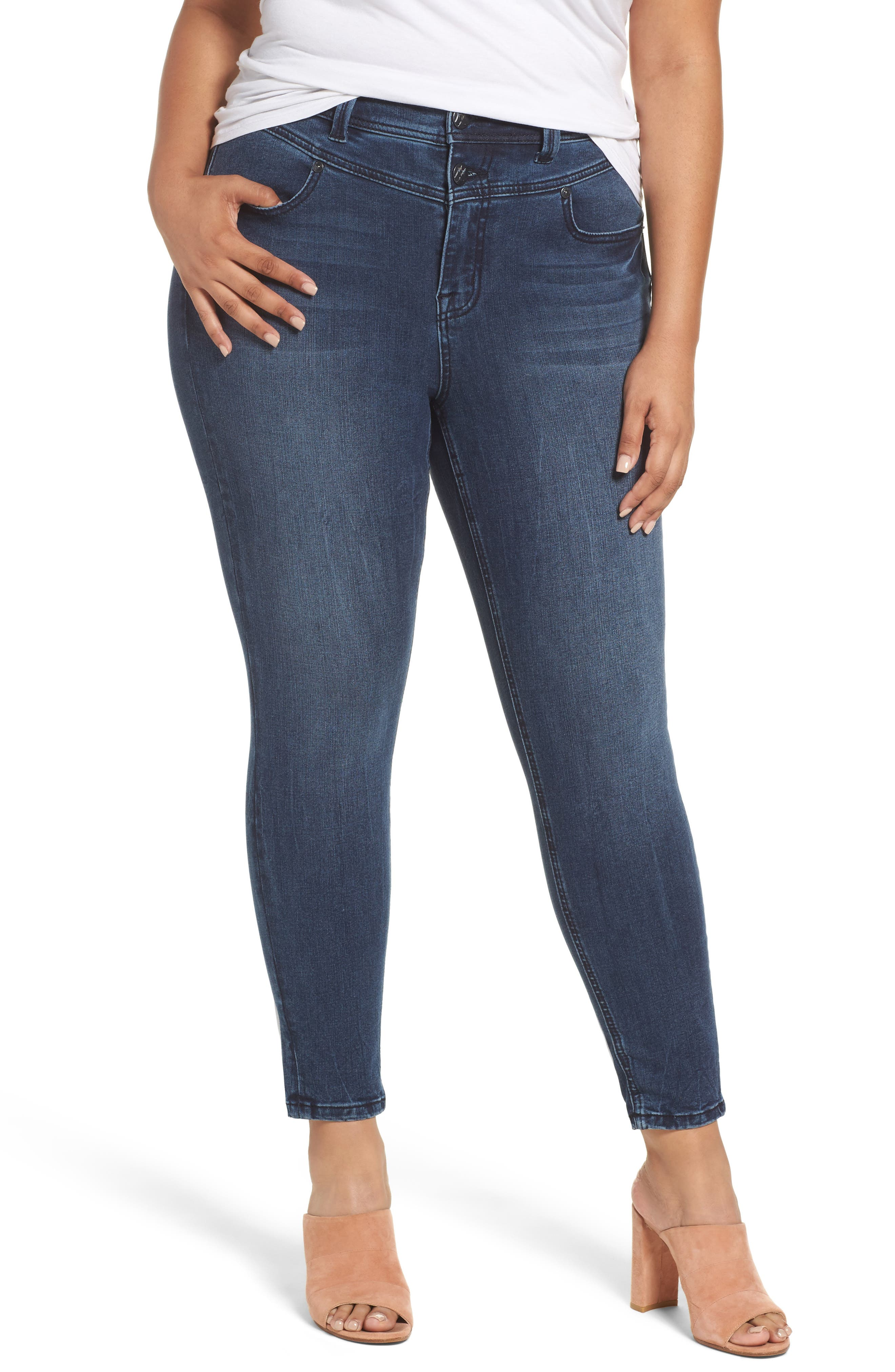 Melissa McCarthy High Rise Front Yoke Pencil Jeans (Plus Size)