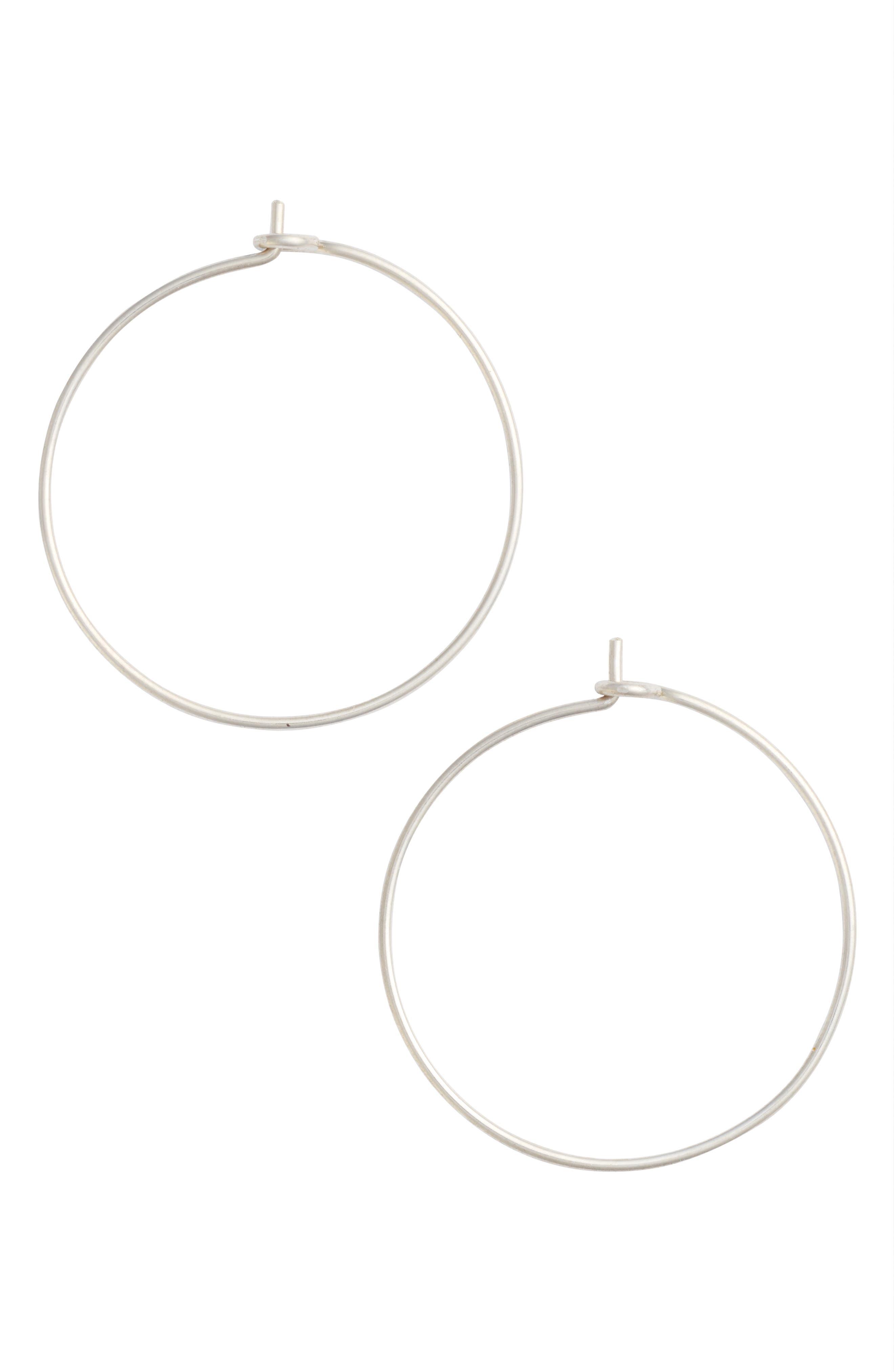 Medium Pure Hoop Earrings,                         Main,                         color, Silver