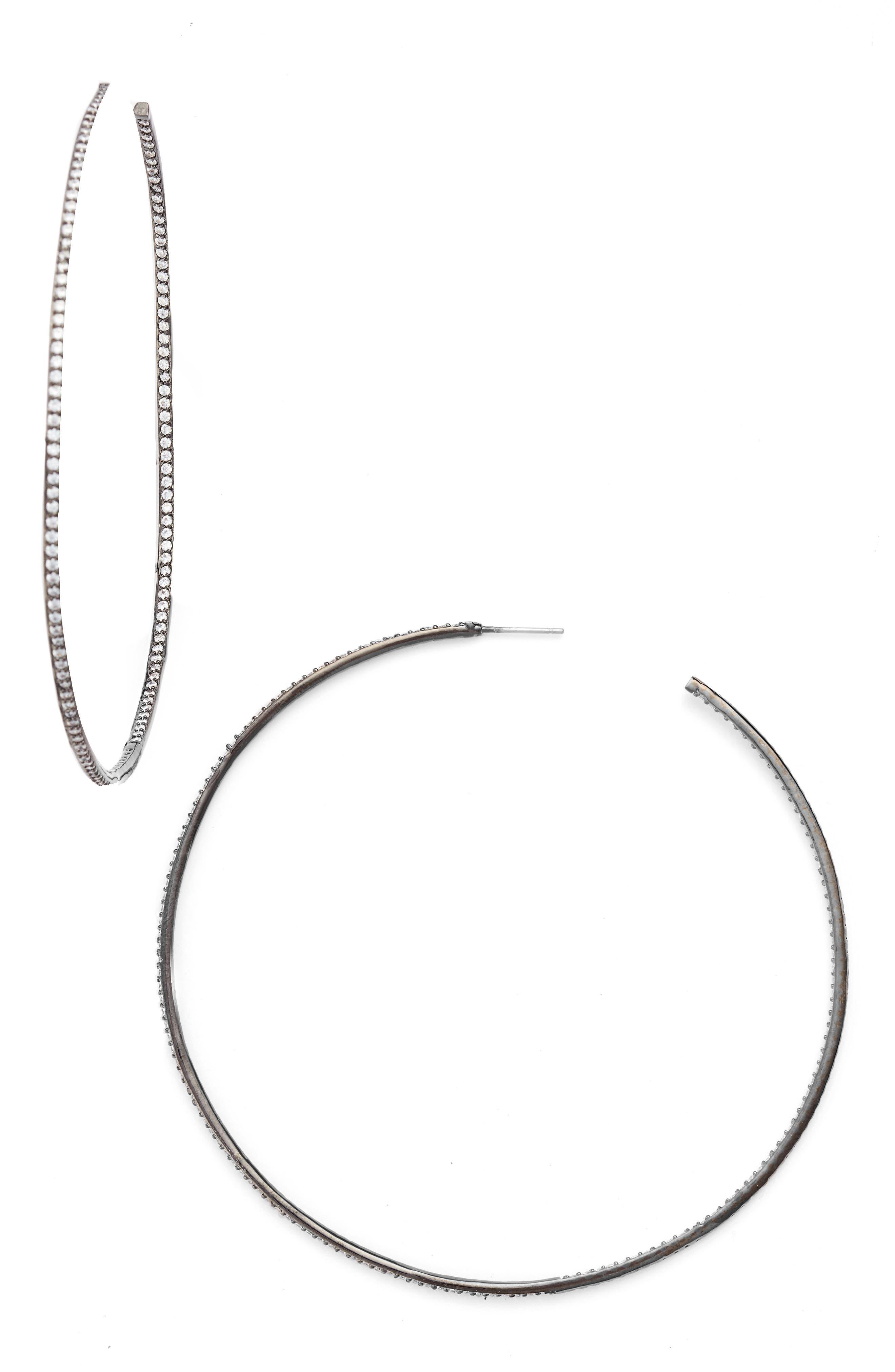 Alternate Image 1 Selected - CZ by Kenneth Jay Lane Skinny Inside Out Hoop Earrings