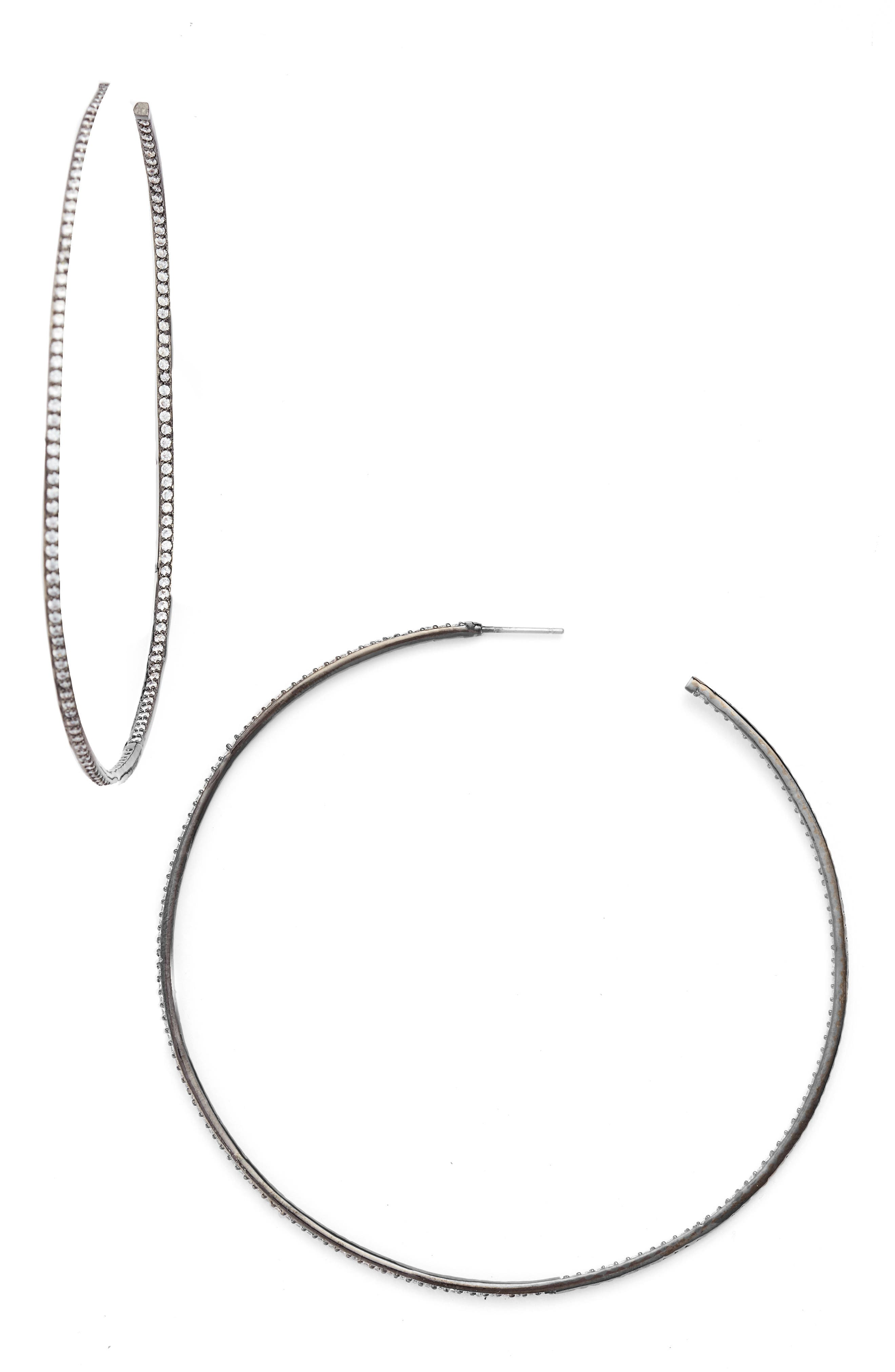 Main Image - CZ by Kenneth Jay Lane Skinny Inside Out Hoop Earrings