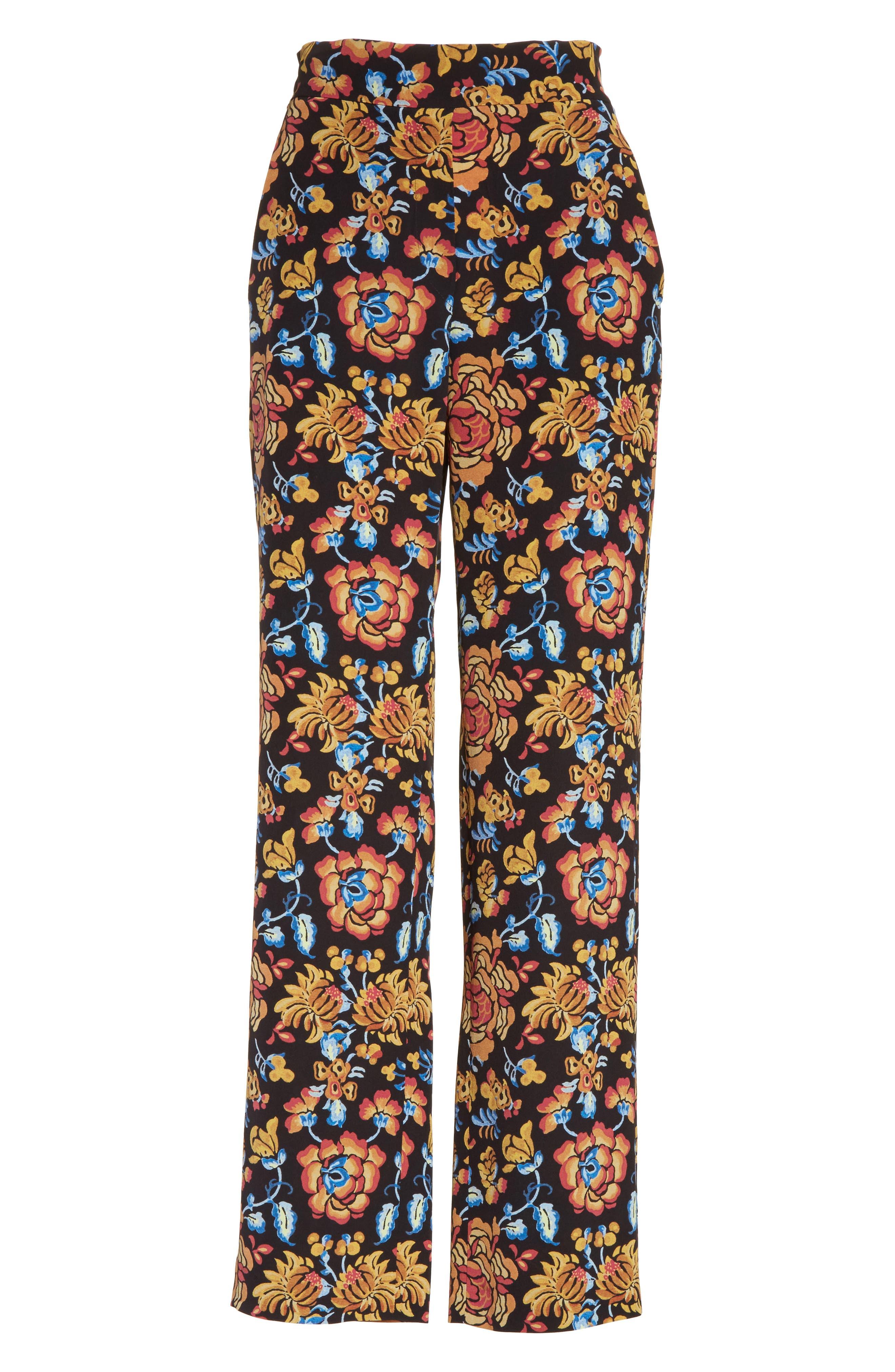 Floral Print Silk Pants,                             Alternate thumbnail 7, color,                             Black Multi