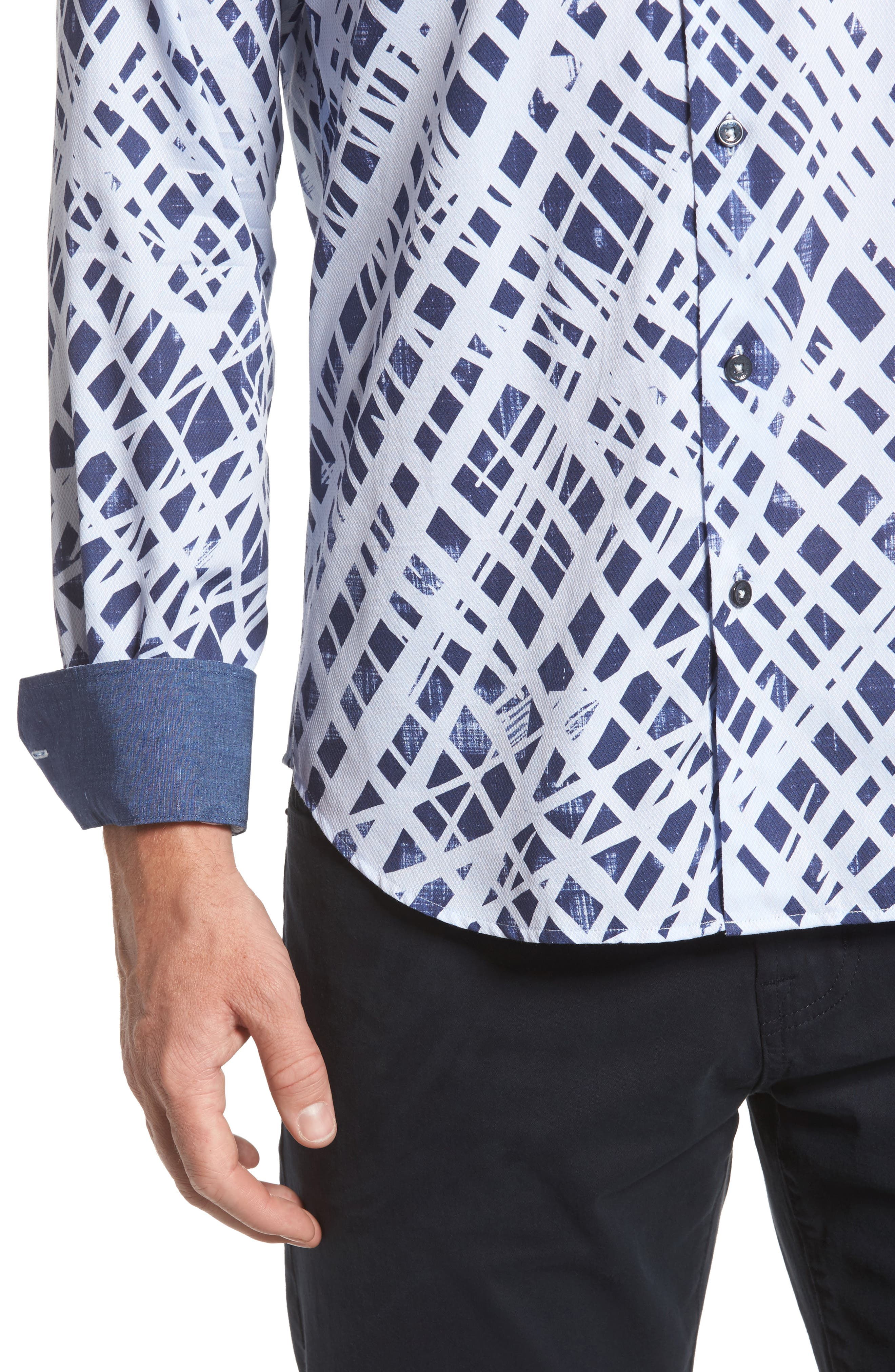 Shaped Fit Abstract Print Sport Shirt,                             Alternate thumbnail 4, color,                             Ice