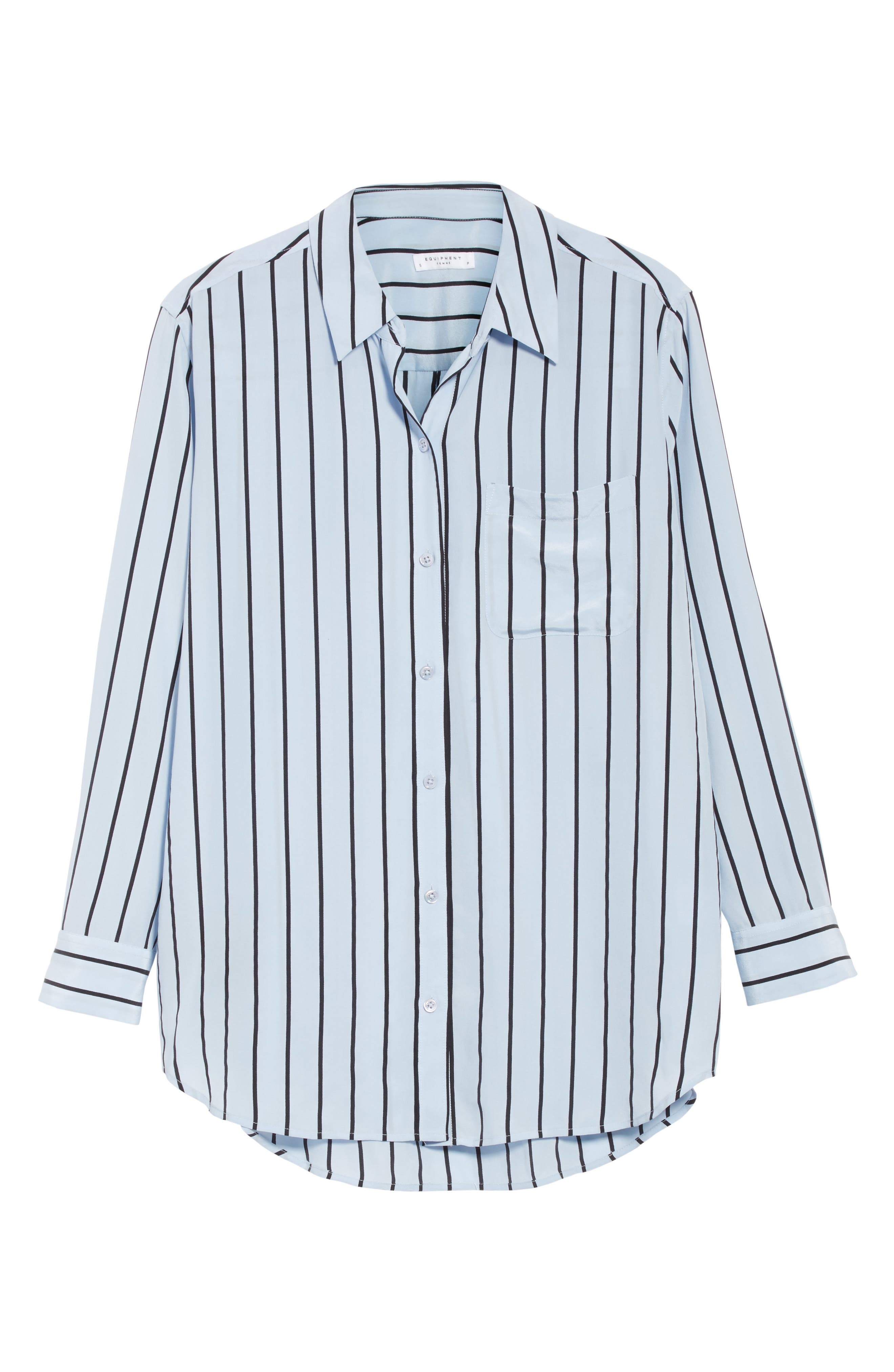 Daddy Oversize Stripe Silk Shirt,                             Alternate thumbnail 6, color,                             Pear Blue/ True Black