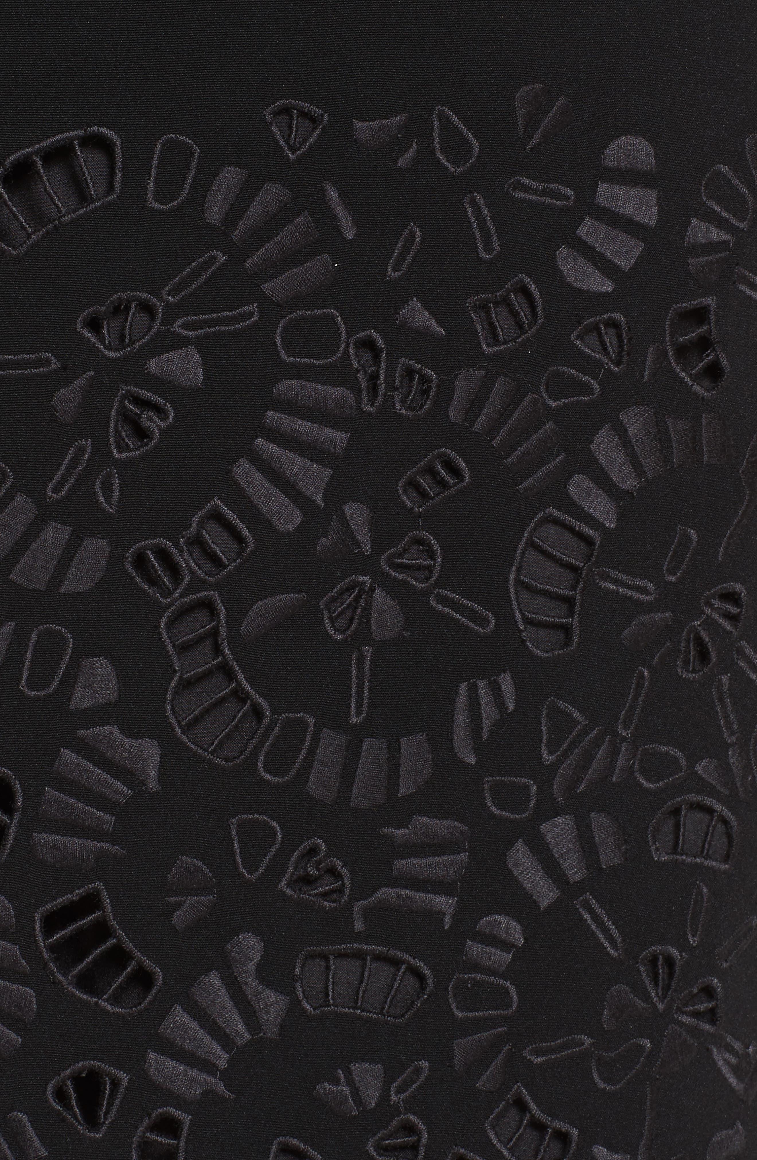 Corbin Embroidered Laser Cut Dress,                             Alternate thumbnail 6, color,                             Black