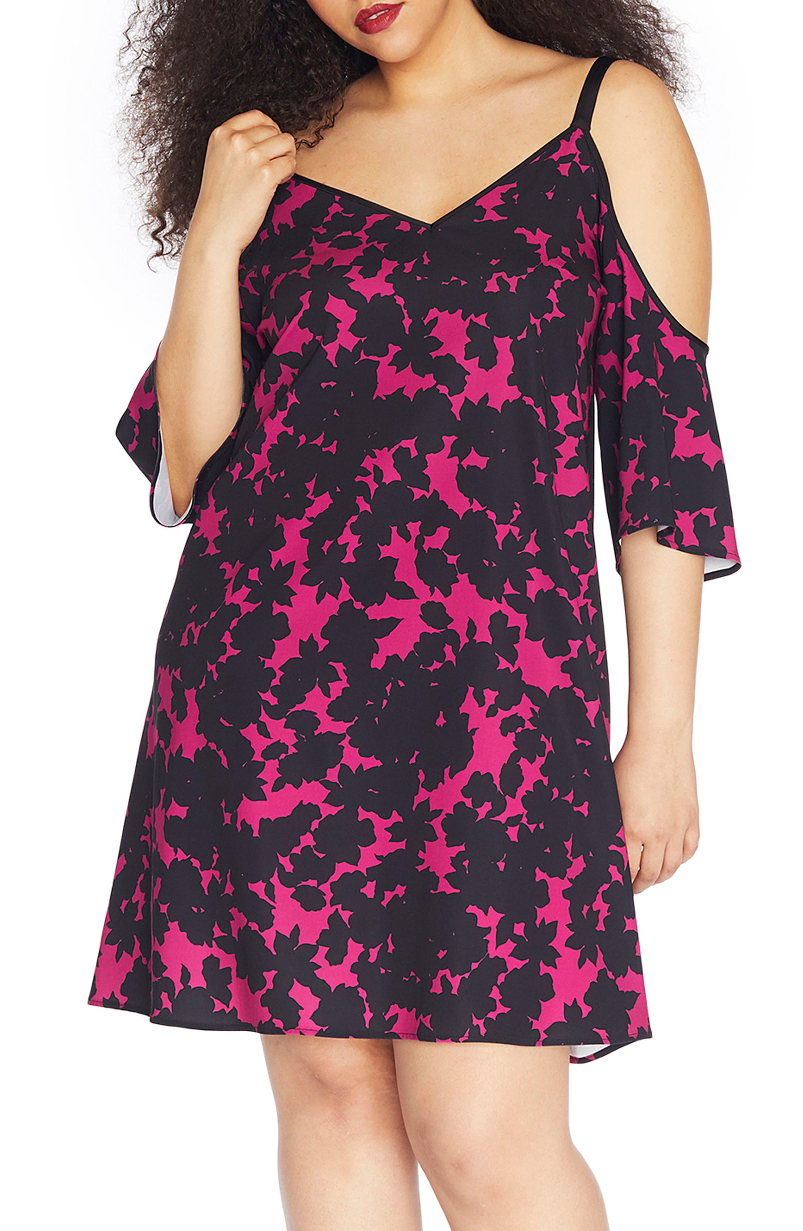Cold Shoulder Crepe Dress,                             Main thumbnail 1, color,                             Blackout Floral
