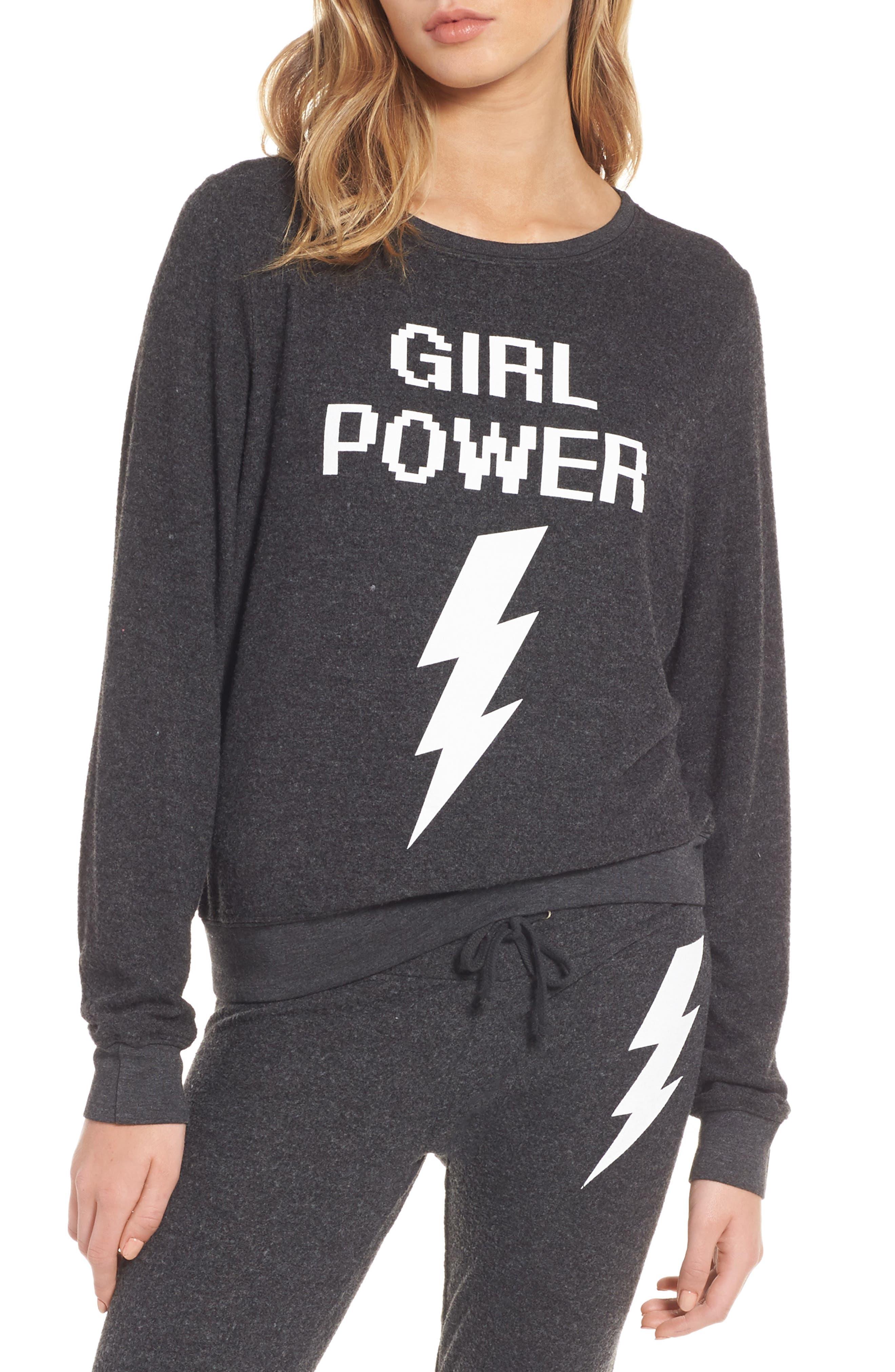 Girl Power Sweatshirt,                         Main,                         color, Black