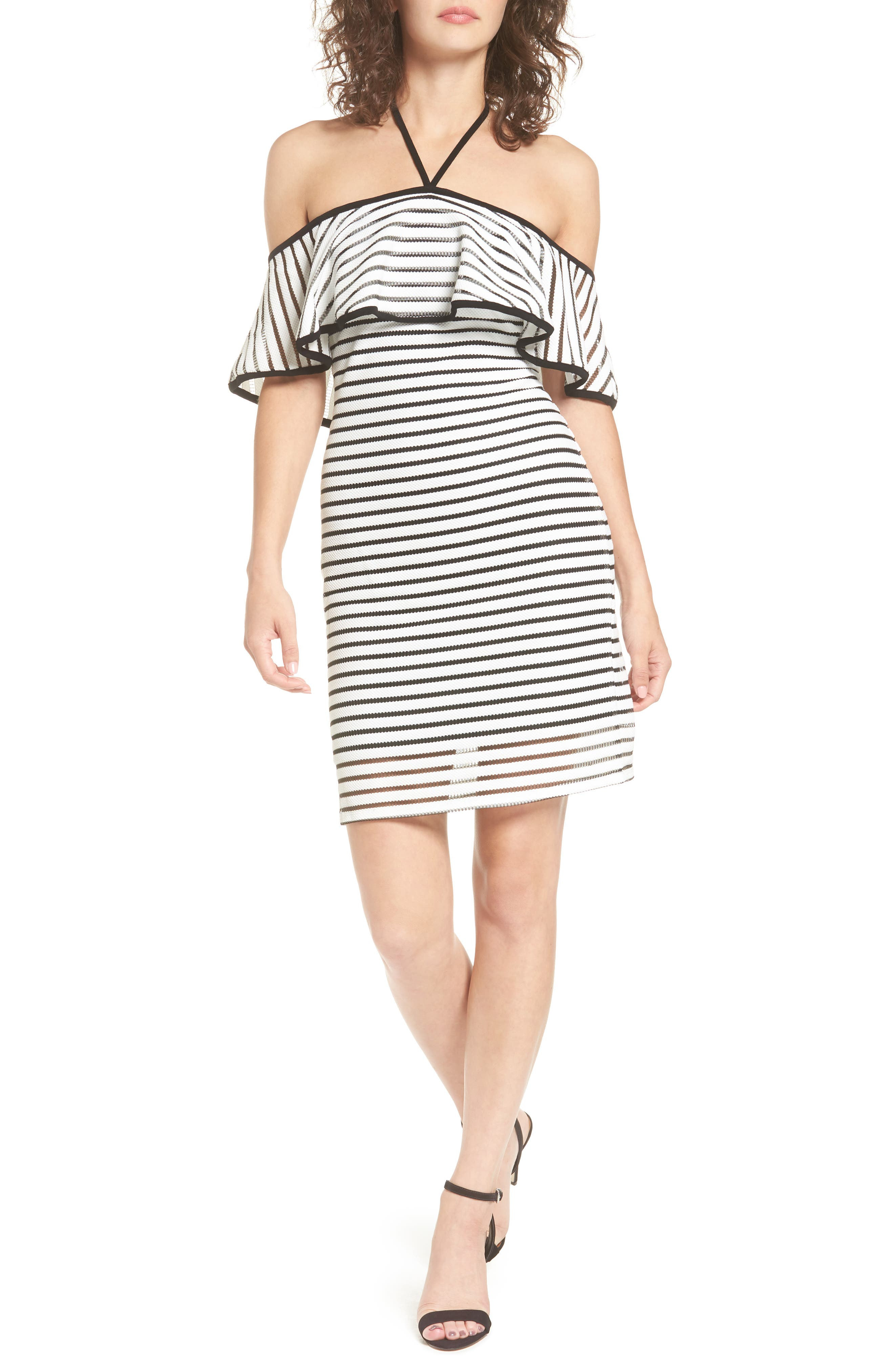 AS U WISH As You Wish Ruffle Popover Stripe Body-Con Dress