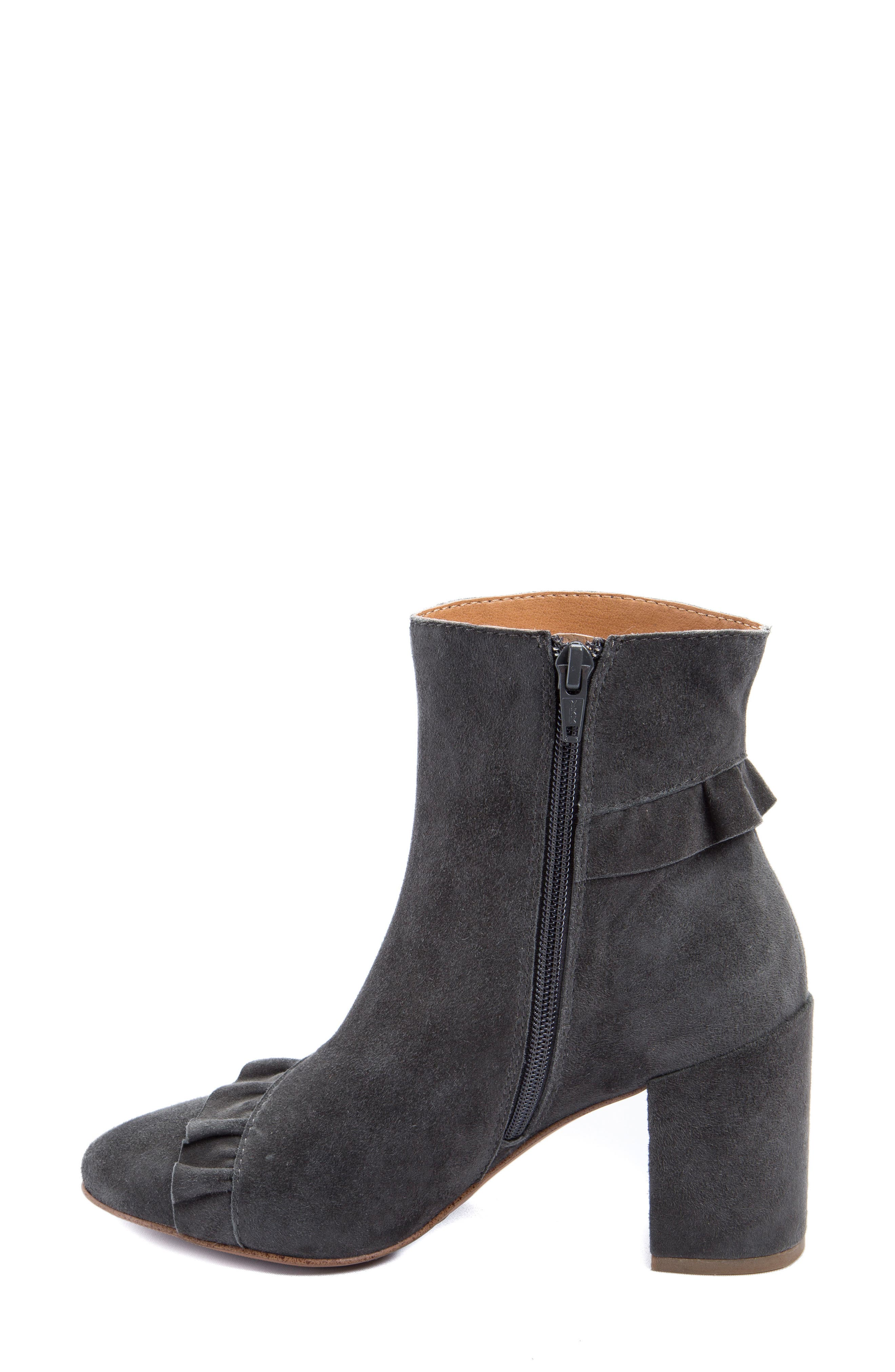 Kahlia Ruffle Bootie,                             Alternate thumbnail 4, color,                             Stone Suede