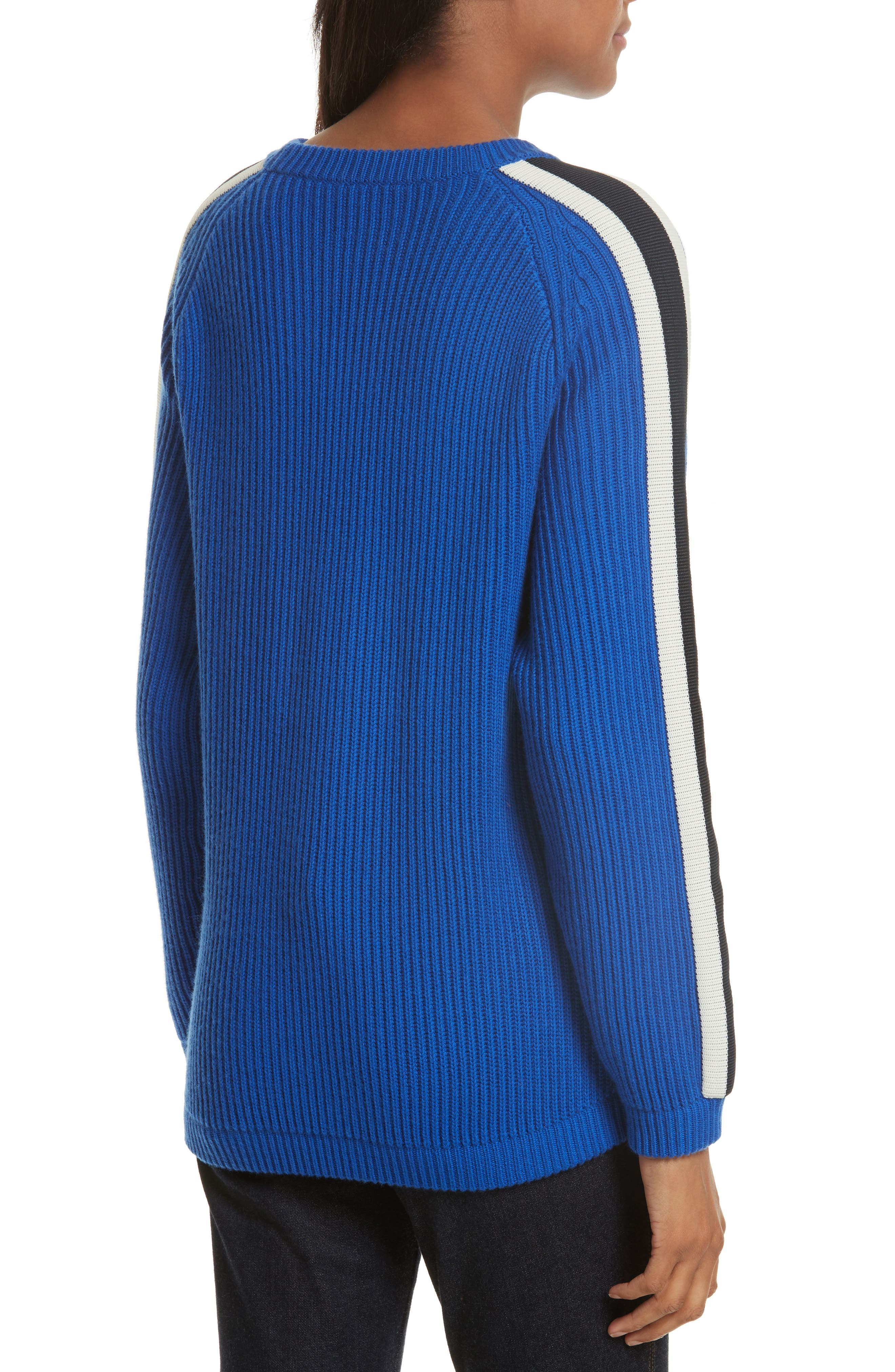 Val Stripe Sleeve Sweater,                             Alternate thumbnail 2, color,                             Blue Dahlia