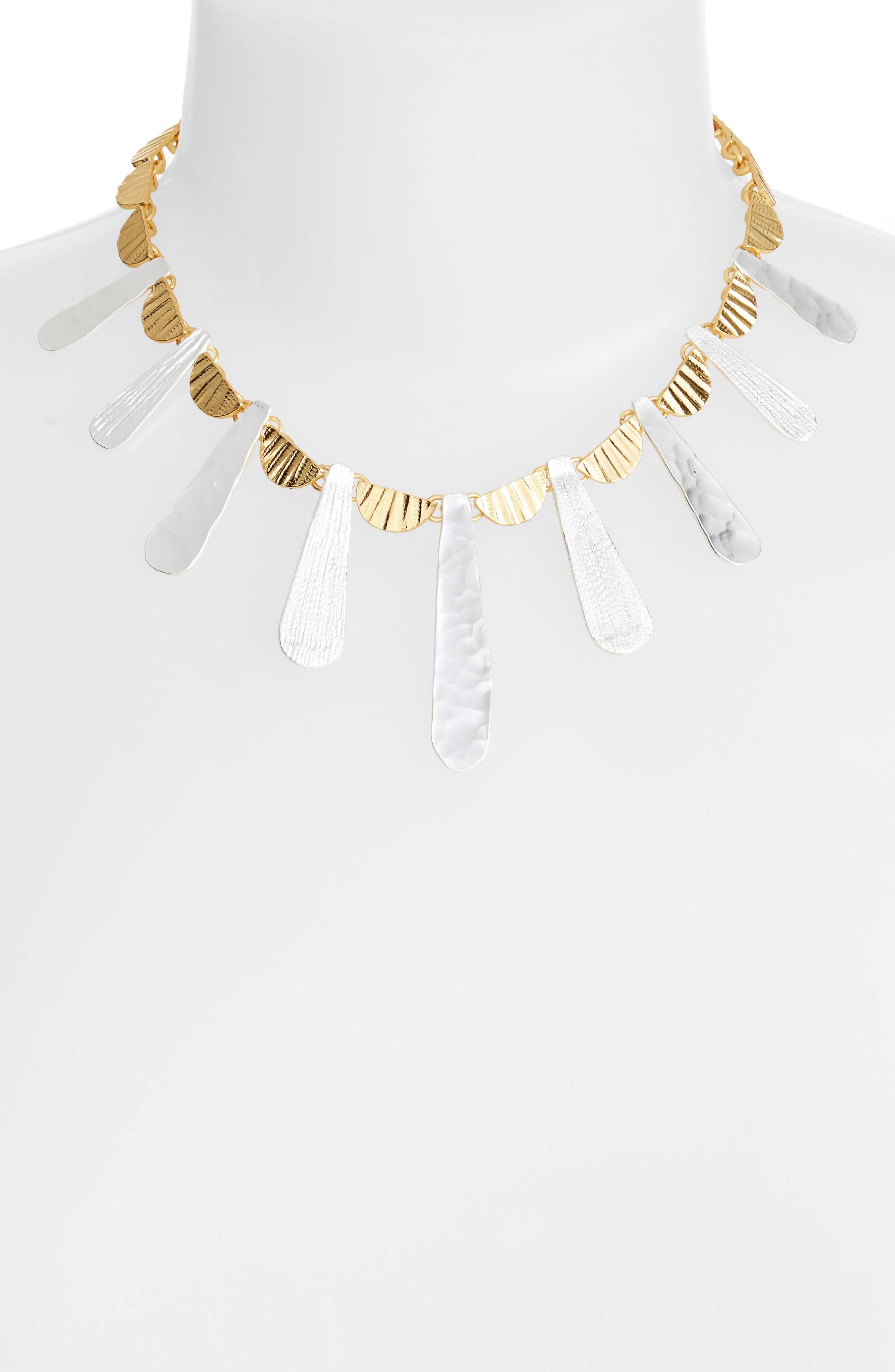 Hammered Collar Necklace,                             Alternate thumbnail 2, color,                             Gold/Silver Mix