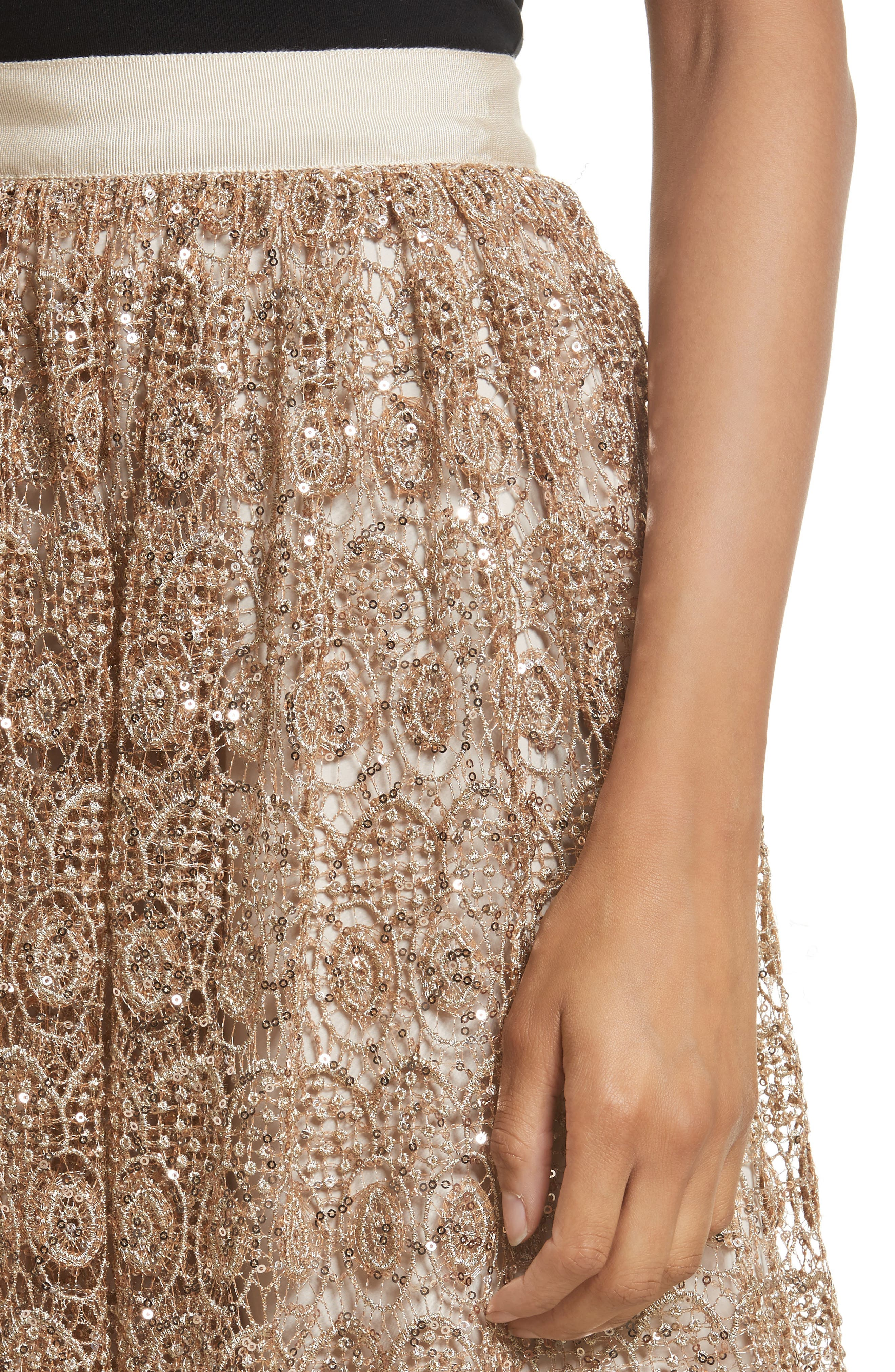 Metallic Lace Skirt,                             Alternate thumbnail 6, color,                             Gold