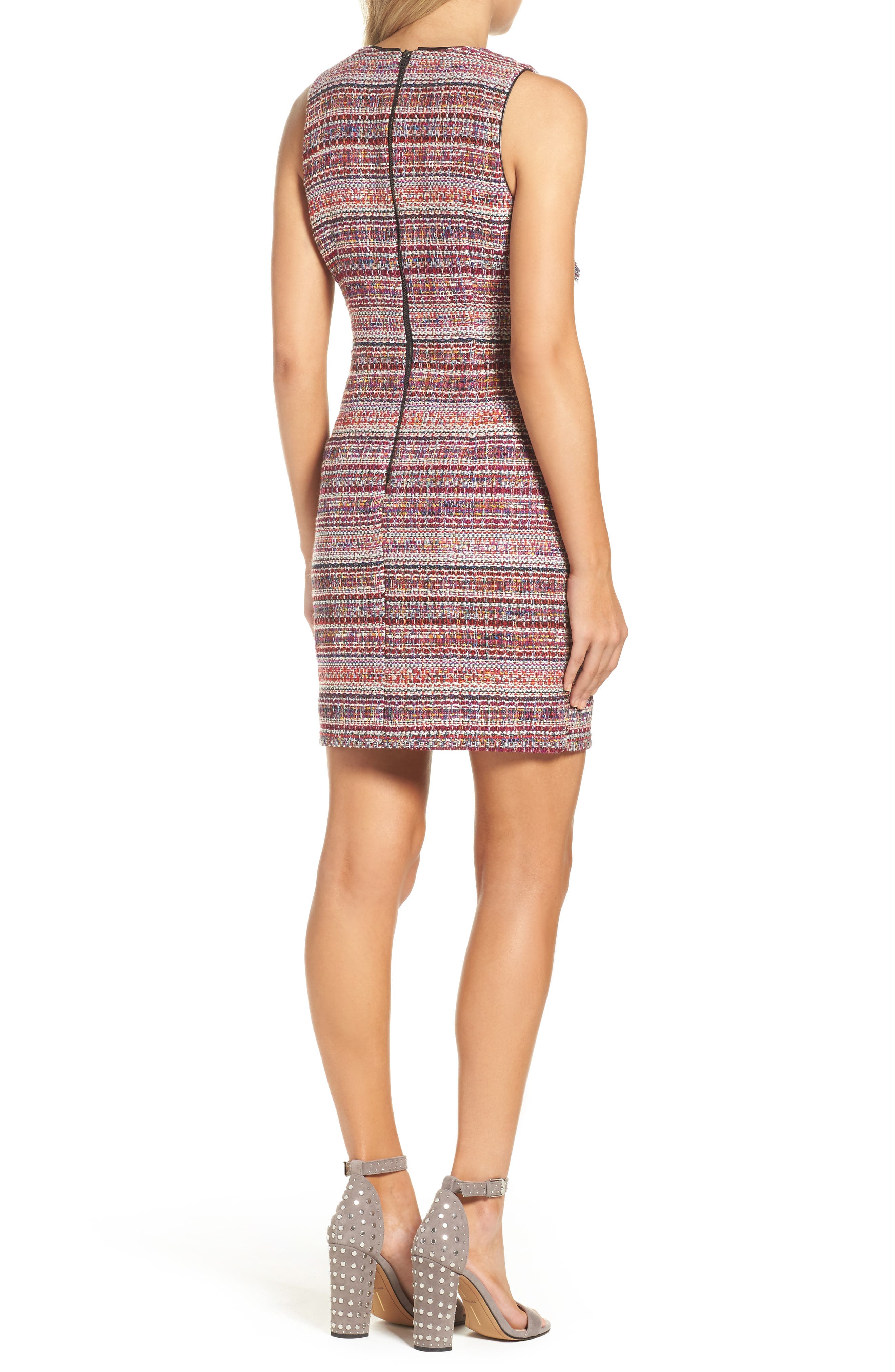 Jamie Ruffle Jacquard Sheath Dress,                             Alternate thumbnail 2, color,                             Magenta Multi