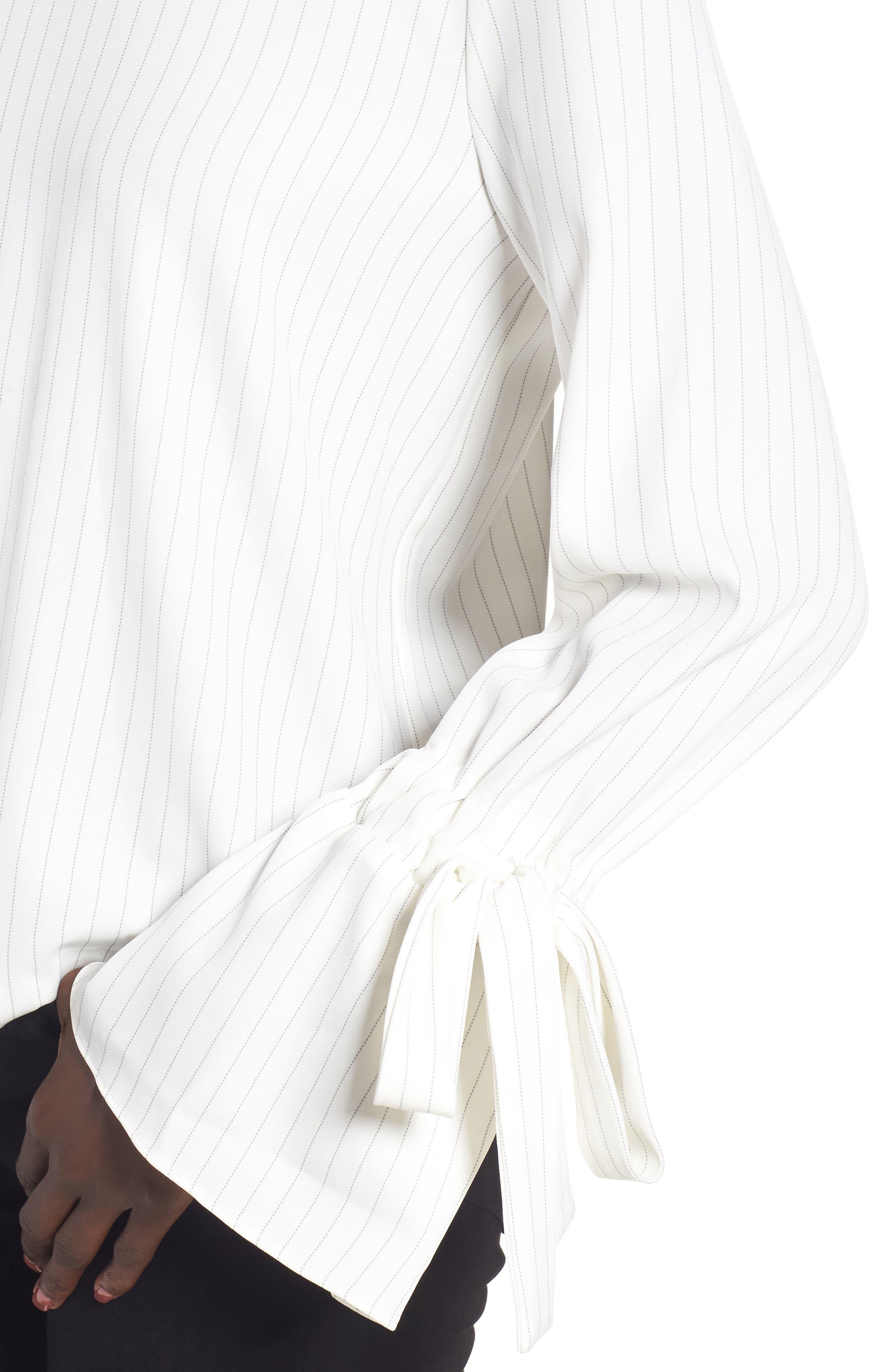 Alternate Image 4  - J.O.A. Pinstripe Tie Sleeve Top