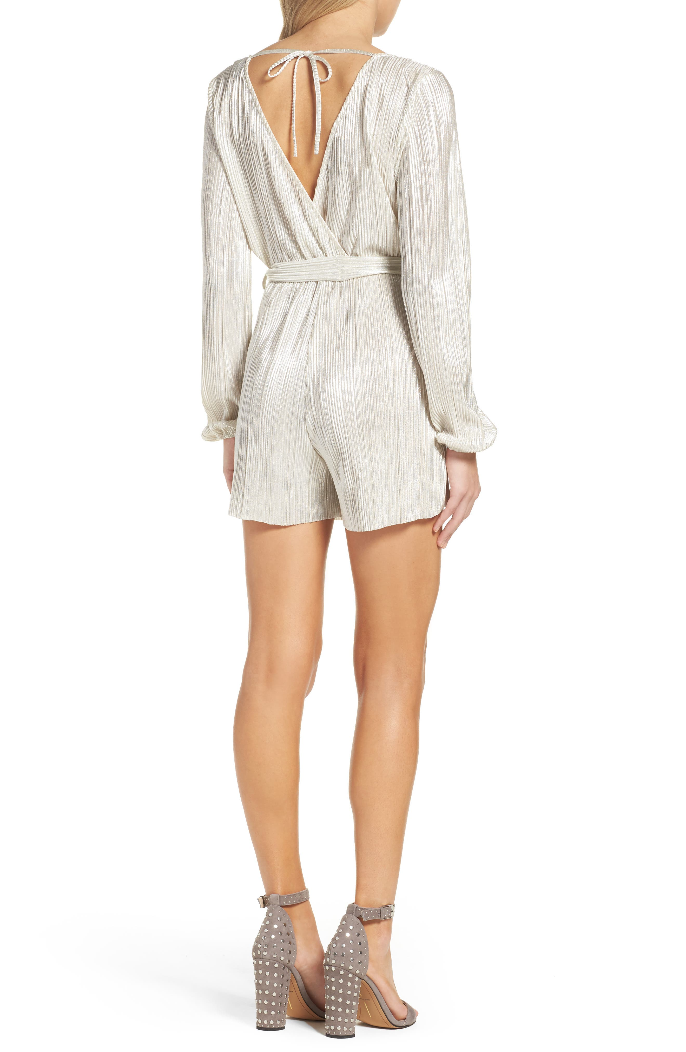Ziggy Pleated Romper,                             Alternate thumbnail 2, color,                             Silver