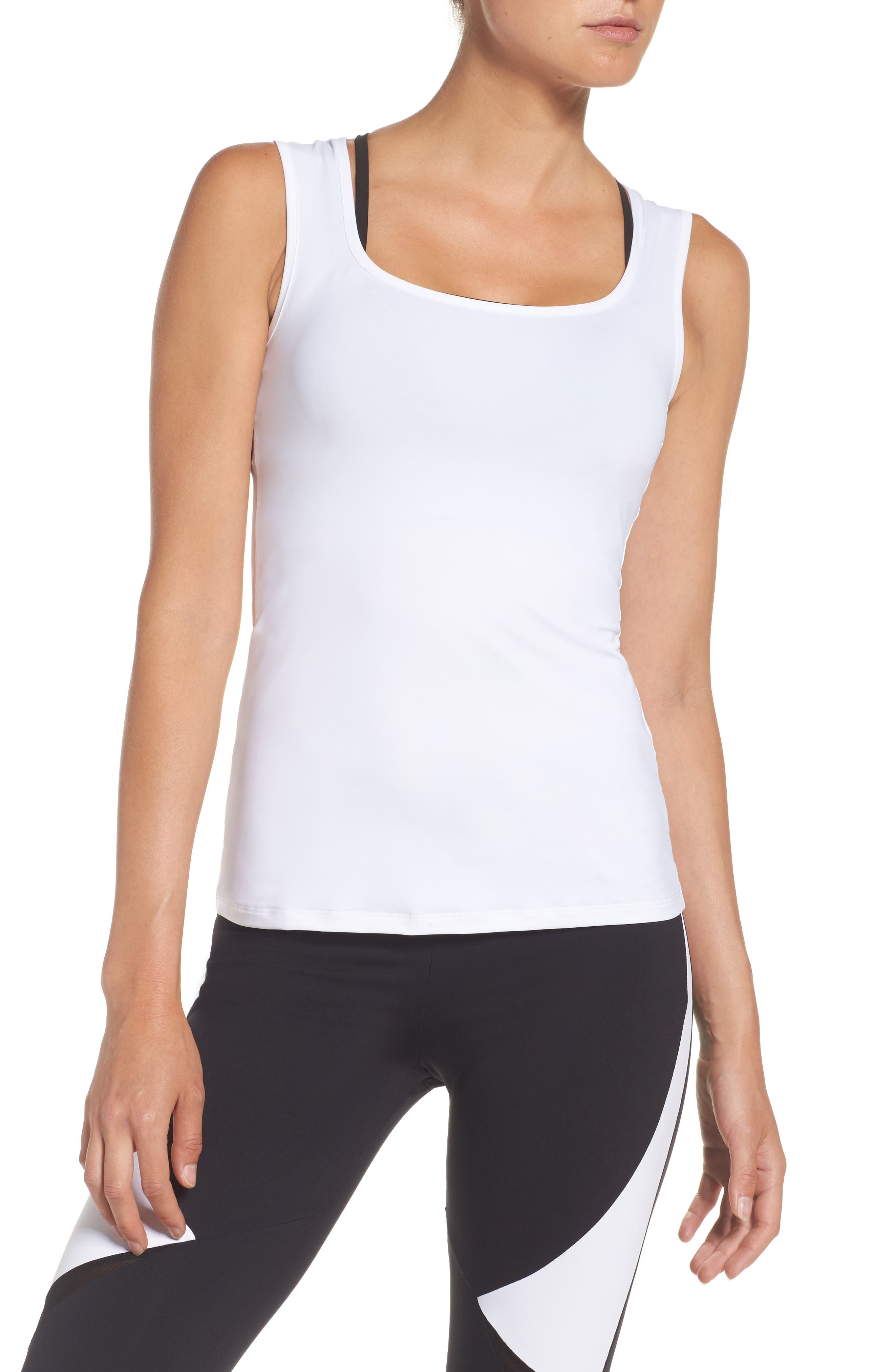 BoomBoom Athletica Sport Racerback Tank,                         Main,                         color, White With Black Mesh