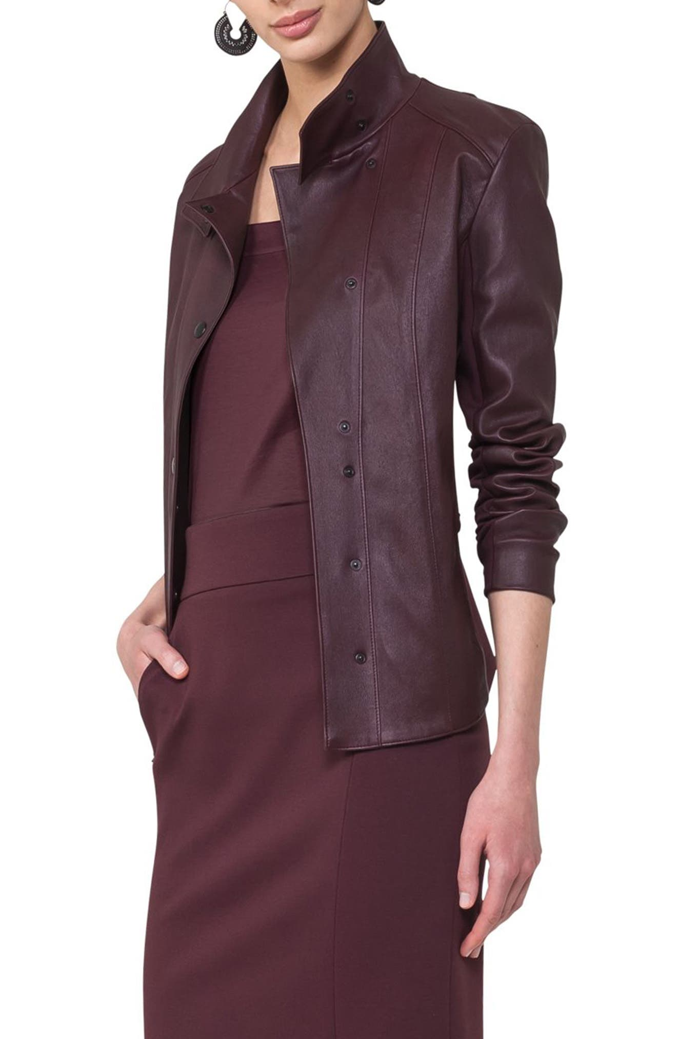 Leather Front Jacket,                         Main,                         color, Wine