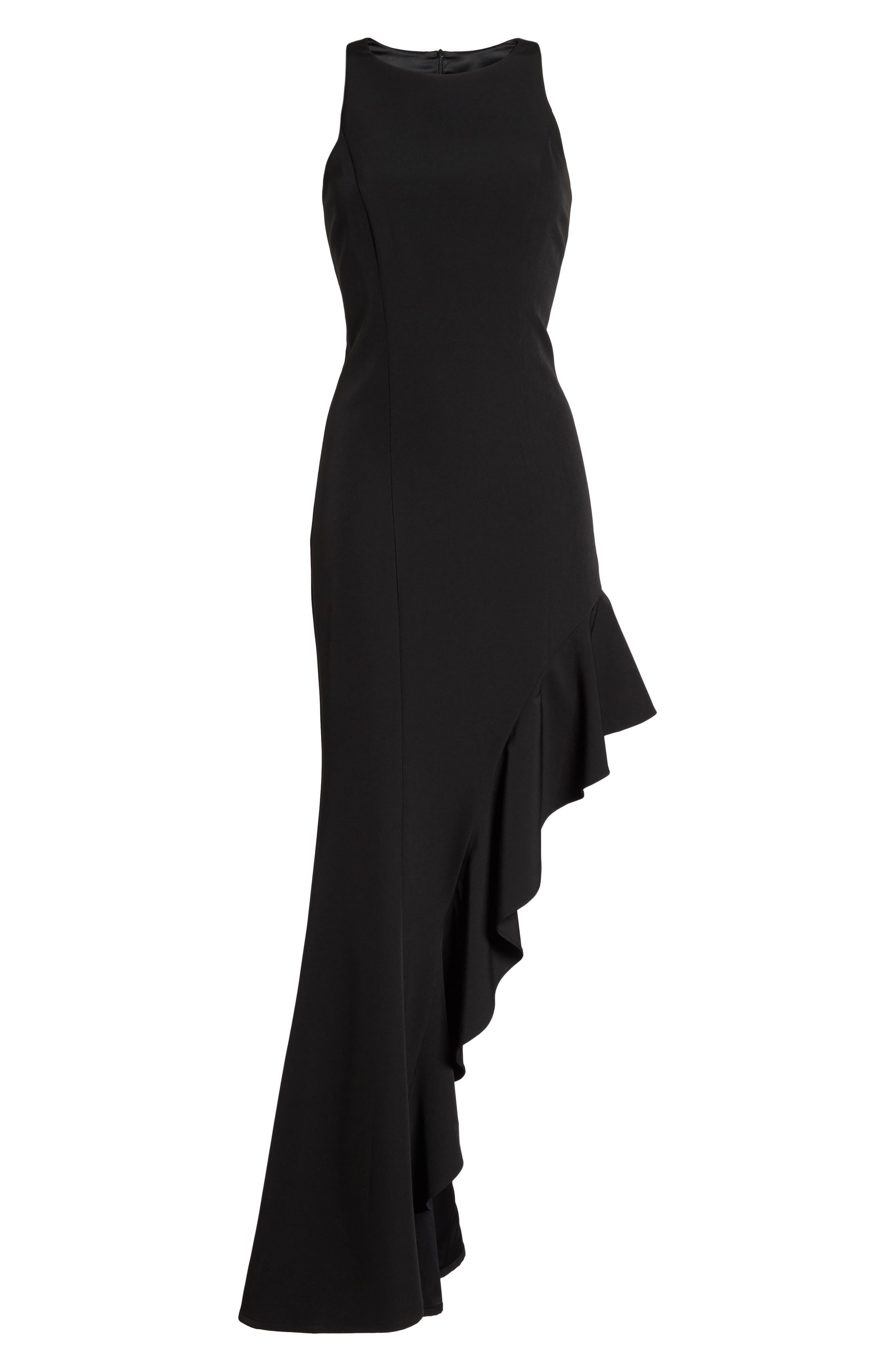 Stella Asymmetrical Ruffle Gown,                             Alternate thumbnail 5, color,                             Black