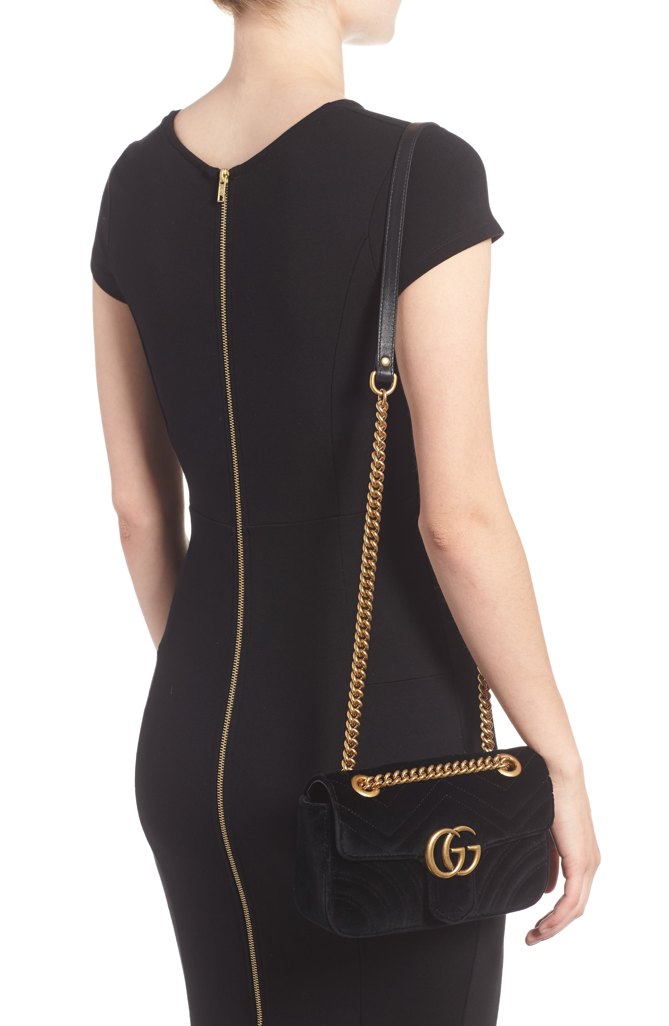Alternate Image 2  - Gucci Small GG Marmont 2.0 Matelassé Velvet Shoulder Bag