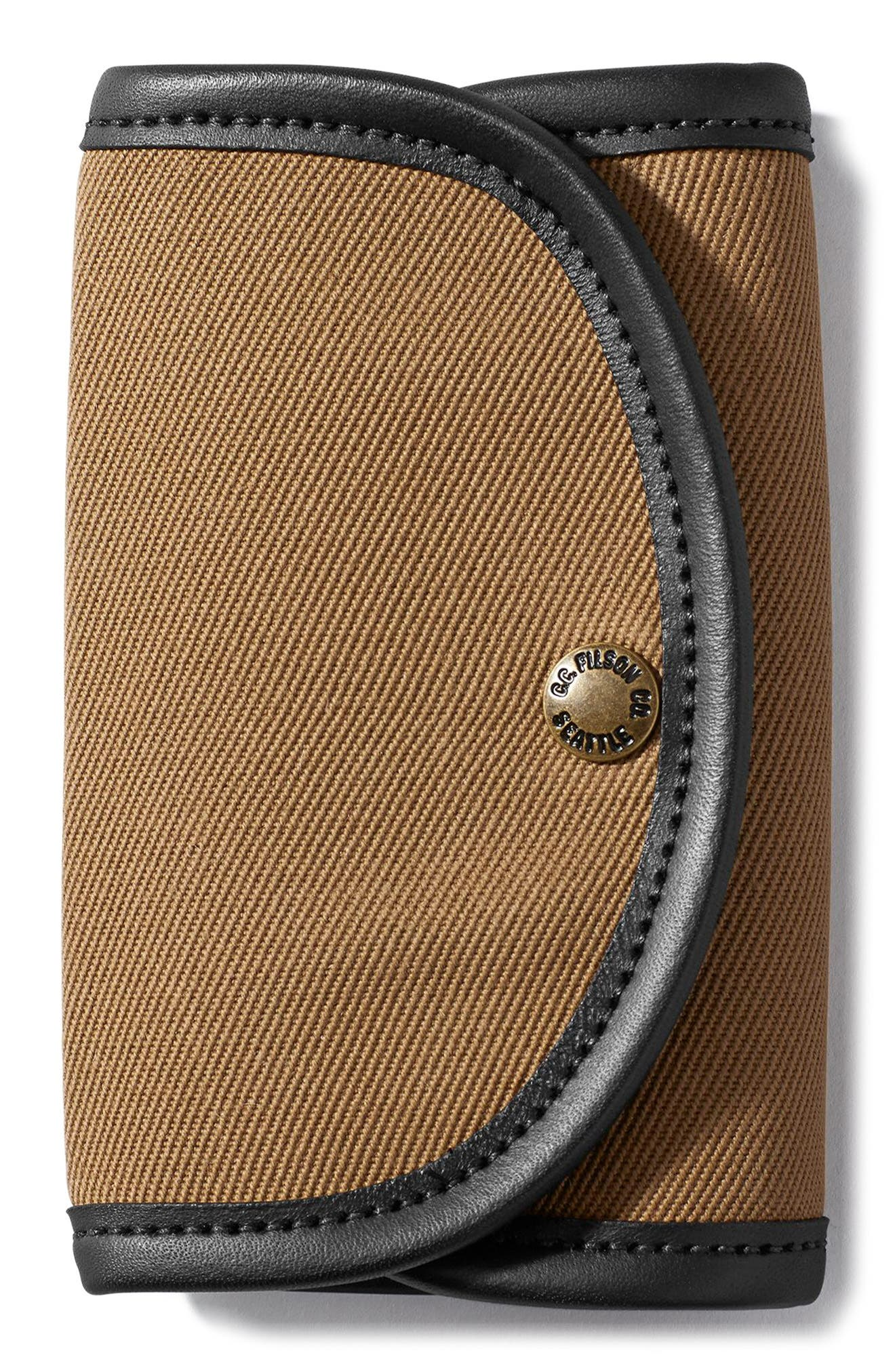 Fly Fishing Wallet with Genuine Shearling,                         Main,                         color, Tan