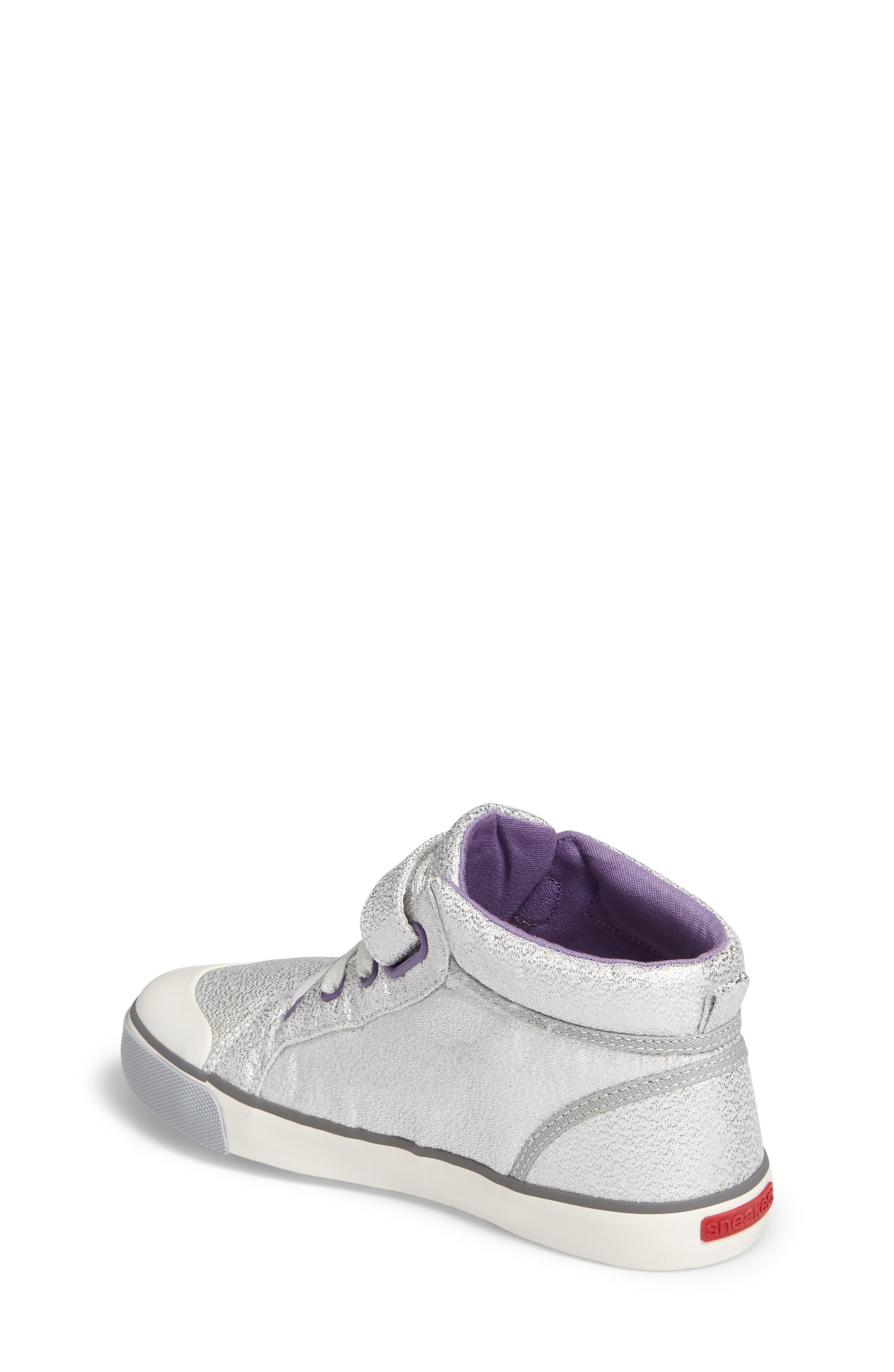 Peyton Metallic Mid Top Sneaker,                             Alternate thumbnail 2, color,                             Silver