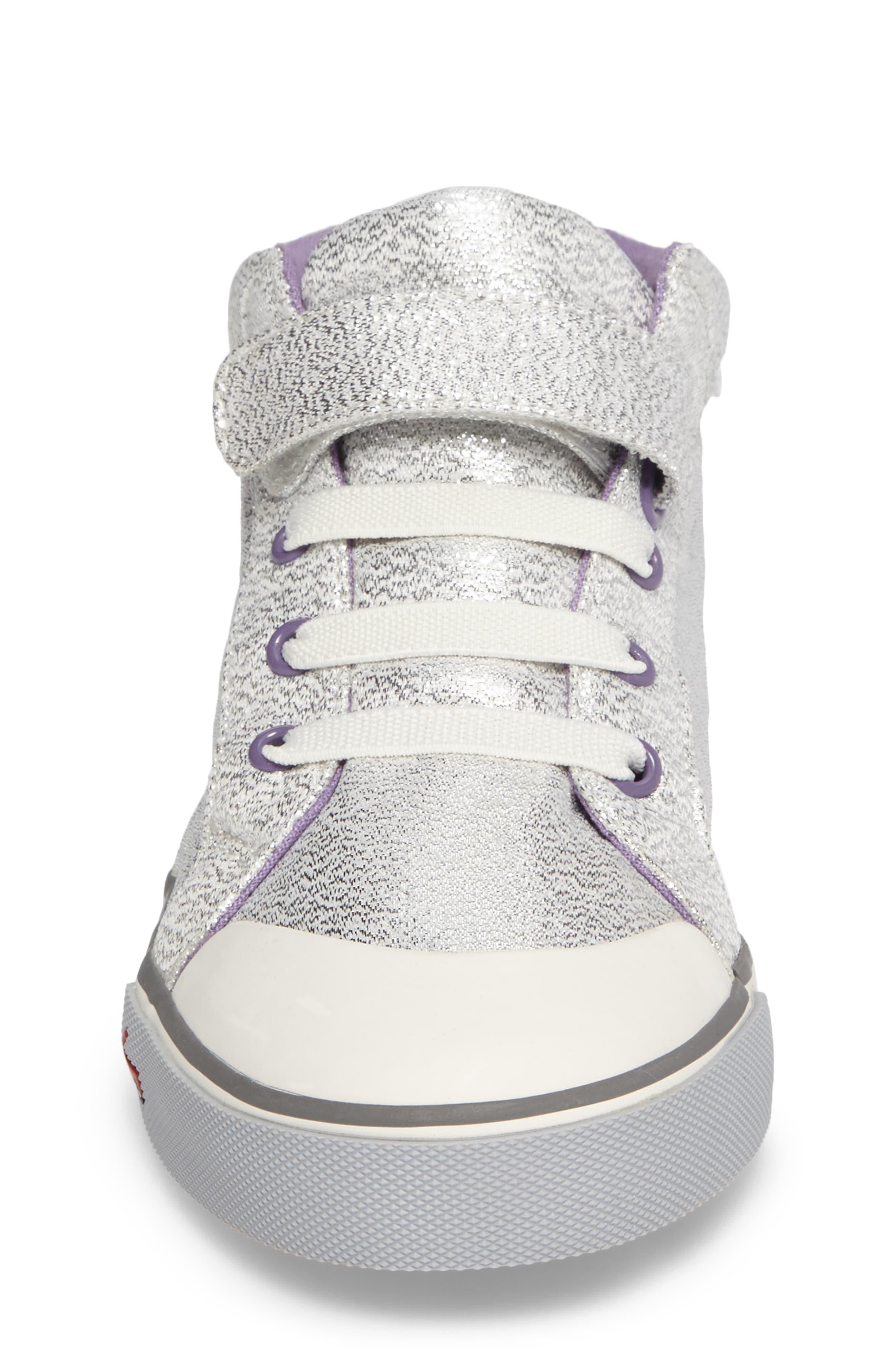 Peyton Metallic Mid Top Sneaker,                             Alternate thumbnail 4, color,                             Silver