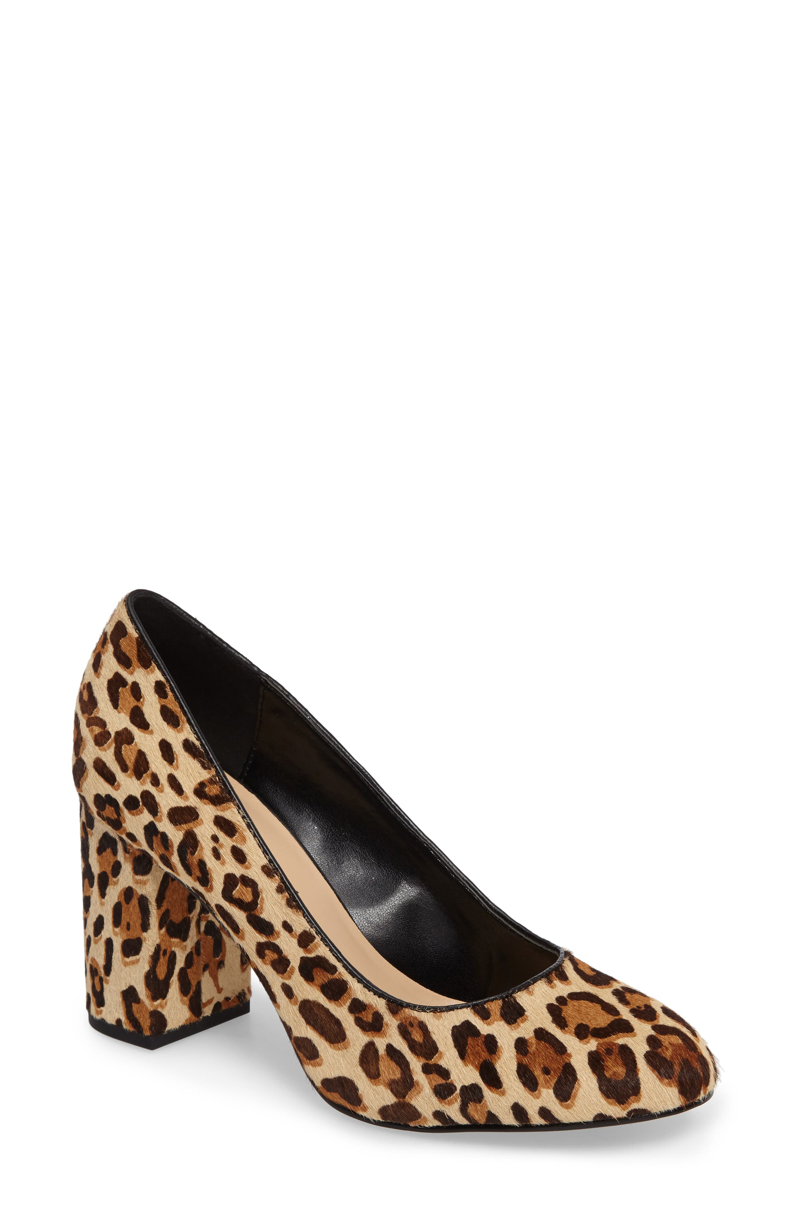 'Nara' Block Heel Pump,                             Main thumbnail 1, color,                             Leopard Pony Calf Hair