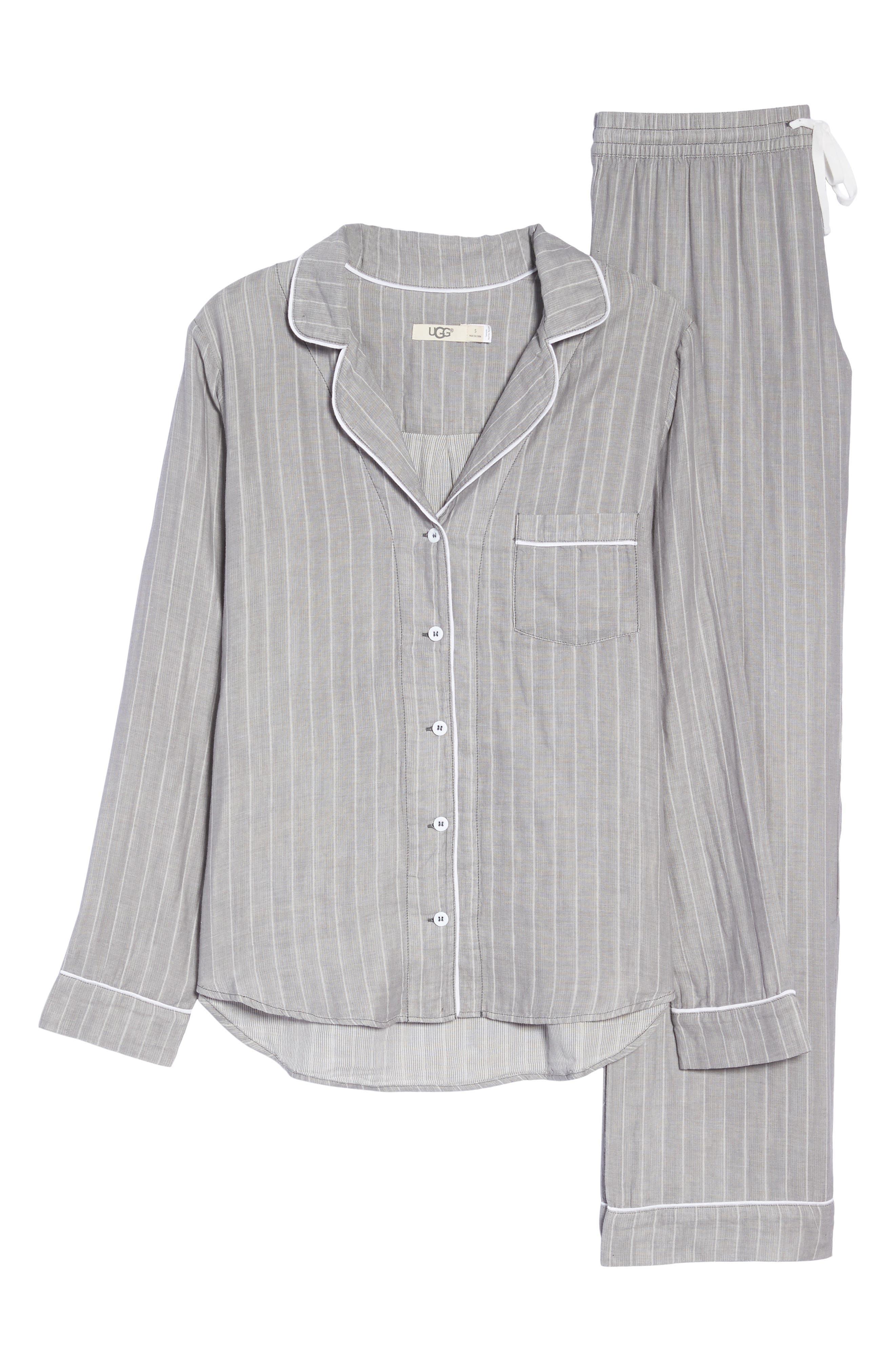 Raven Stripe Pajamas,                             Alternate thumbnail 4, color,                             Seal